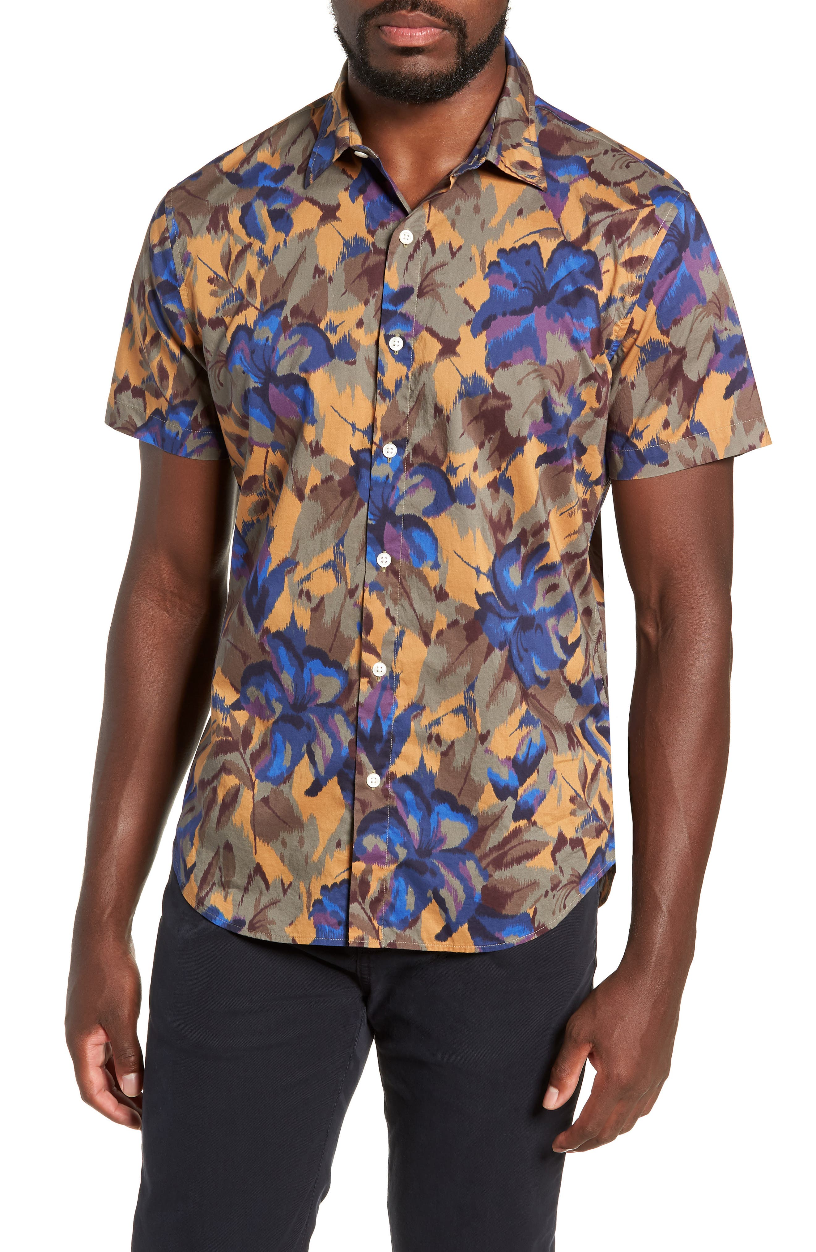 Riviera Slim Fit Sport Shirt,                         Main,                         color, FADED FLORAL - AMBER TOPAZ