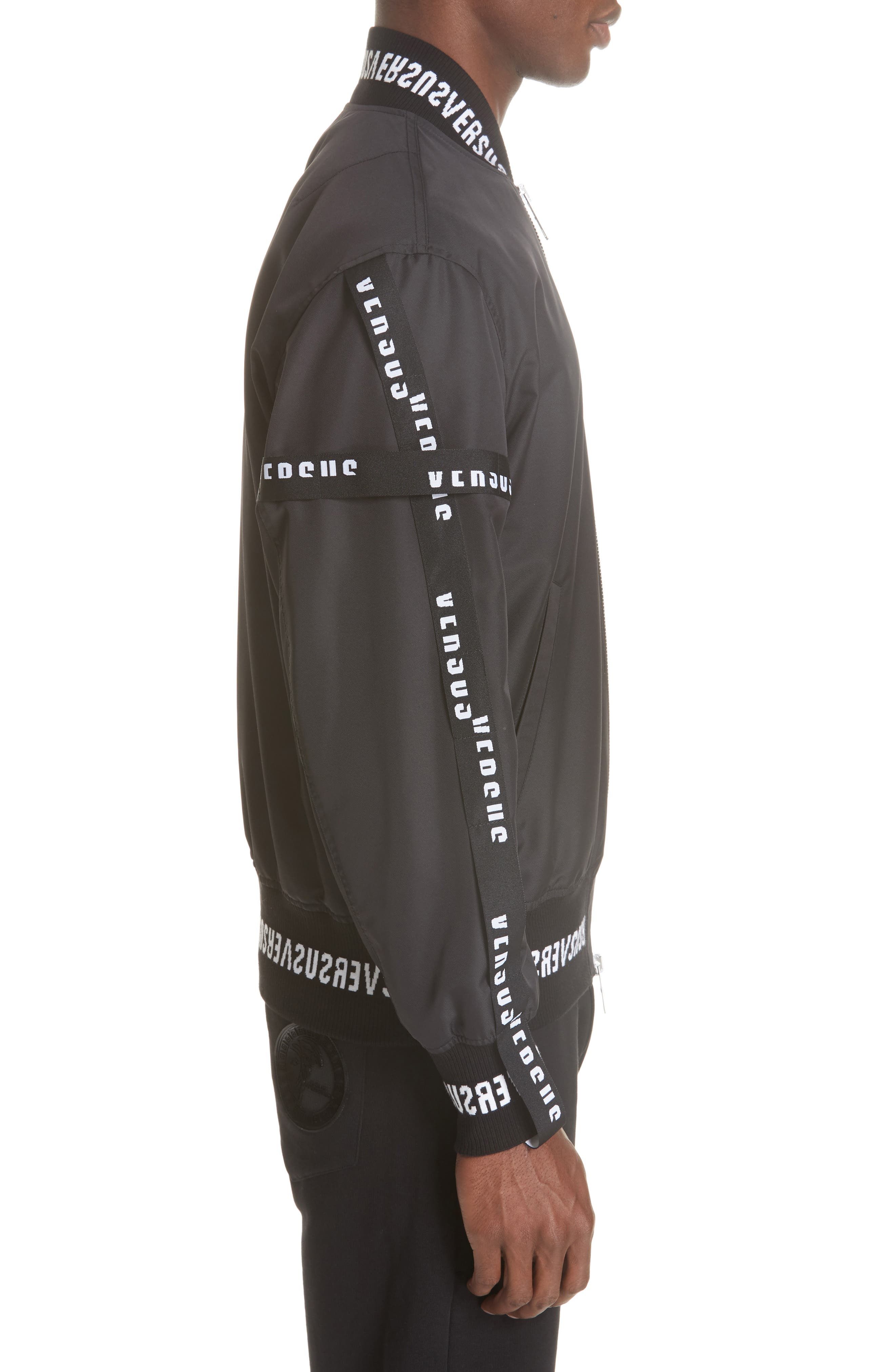 Strap Bomber Jacket,                             Alternate thumbnail 3, color,                             B1008 BLACK