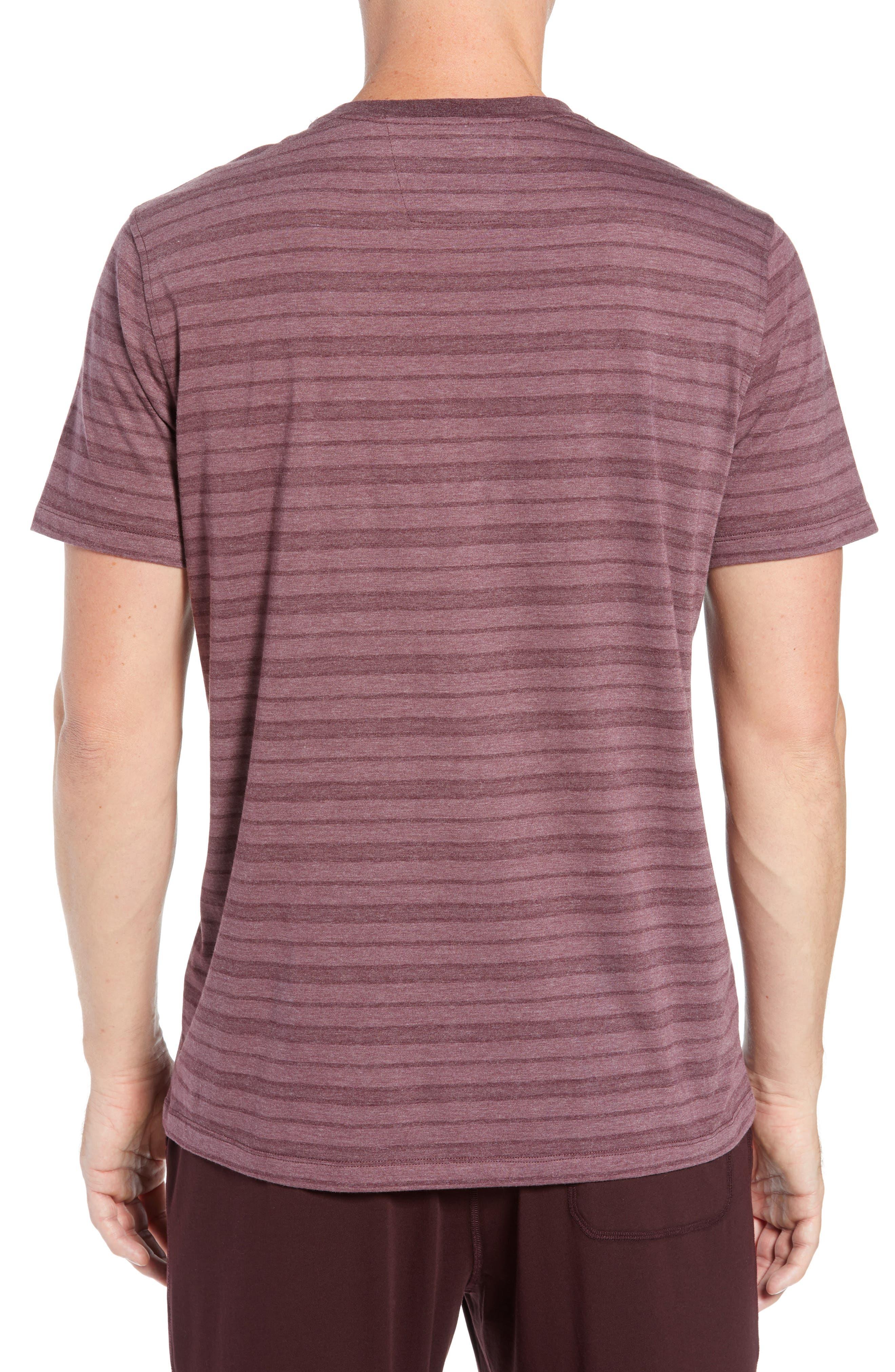 Stripe Cotton Blend Crewneck T-Shirt,                             Alternate thumbnail 2, color,                             WINE