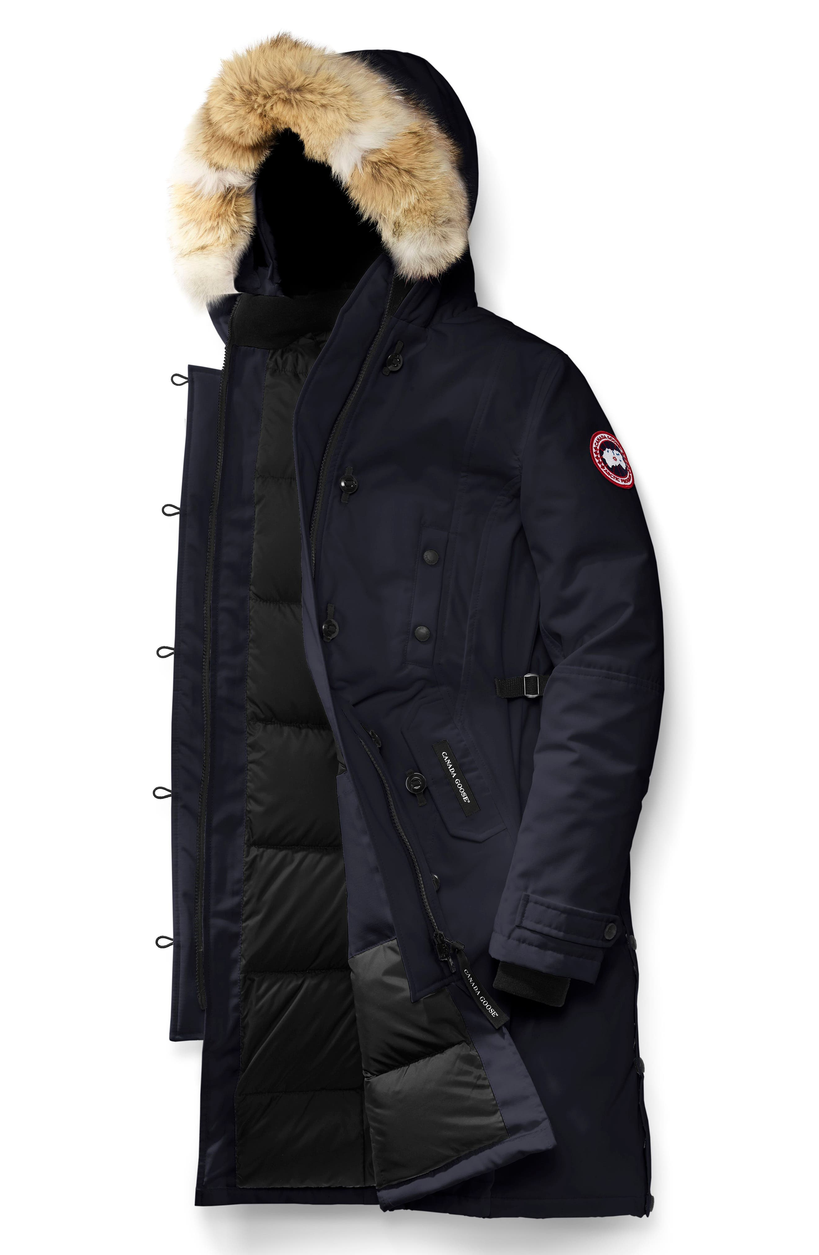 Kensington Slim Fit Down Parka with Genuine Coyote Fur Trim,                             Alternate thumbnail 4, color,                             ADMIRAL BLUE