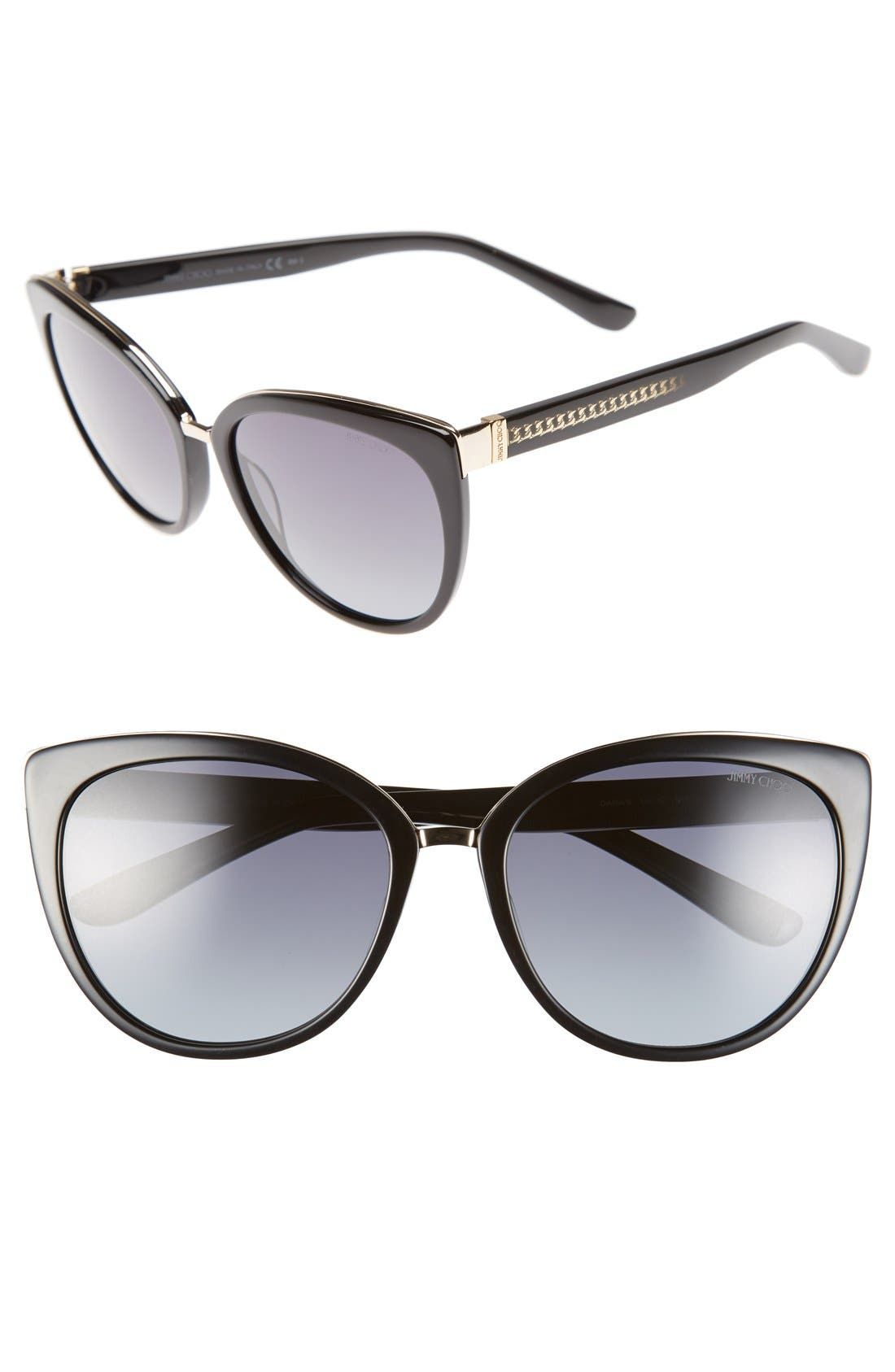 'Danas' 56mm Cat Eye Sunglasses,                             Main thumbnail 1, color,                             001