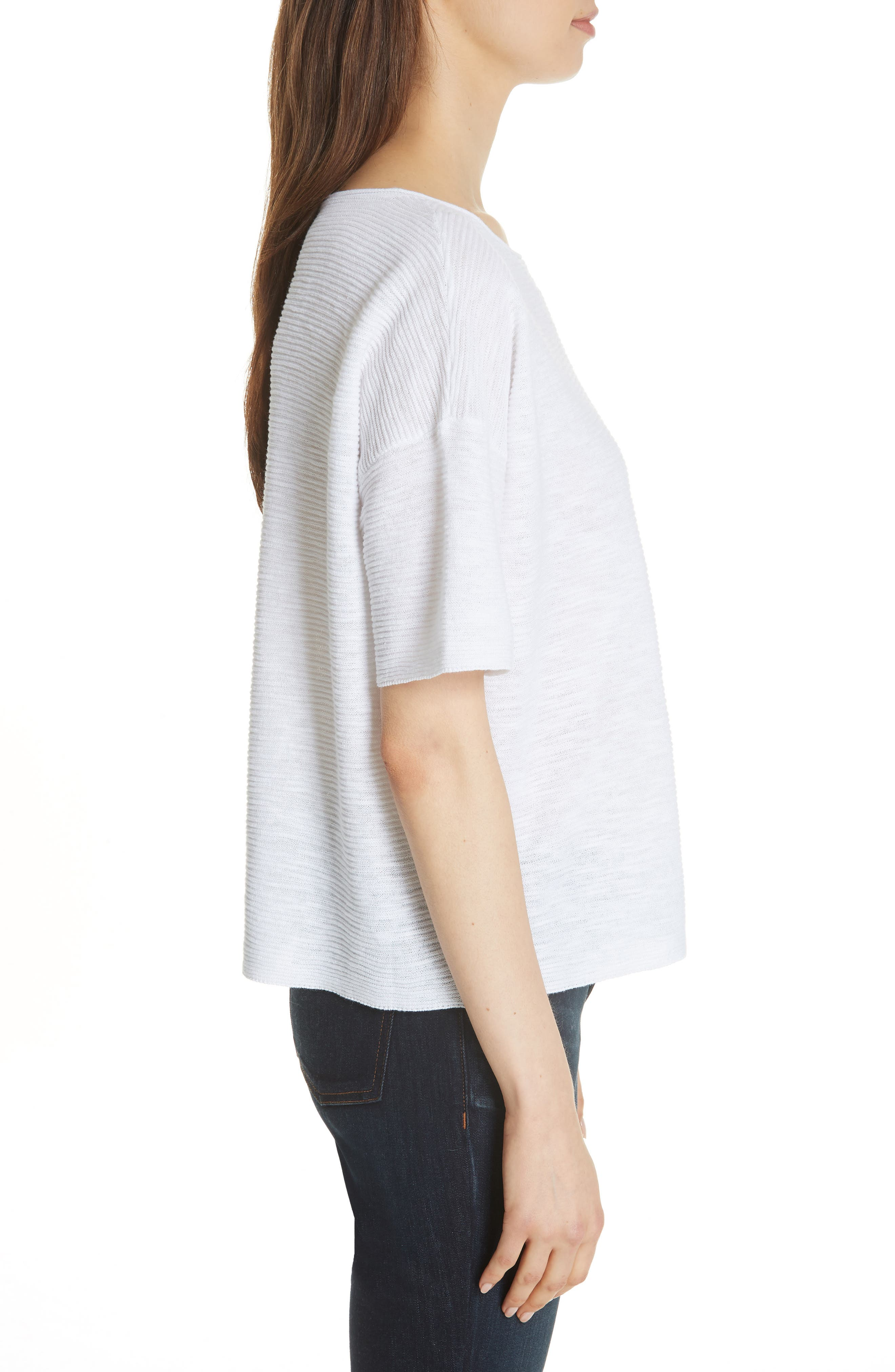 Bateau Neck Linen & Cotton Box Top,                             Alternate thumbnail 3, color,                             100