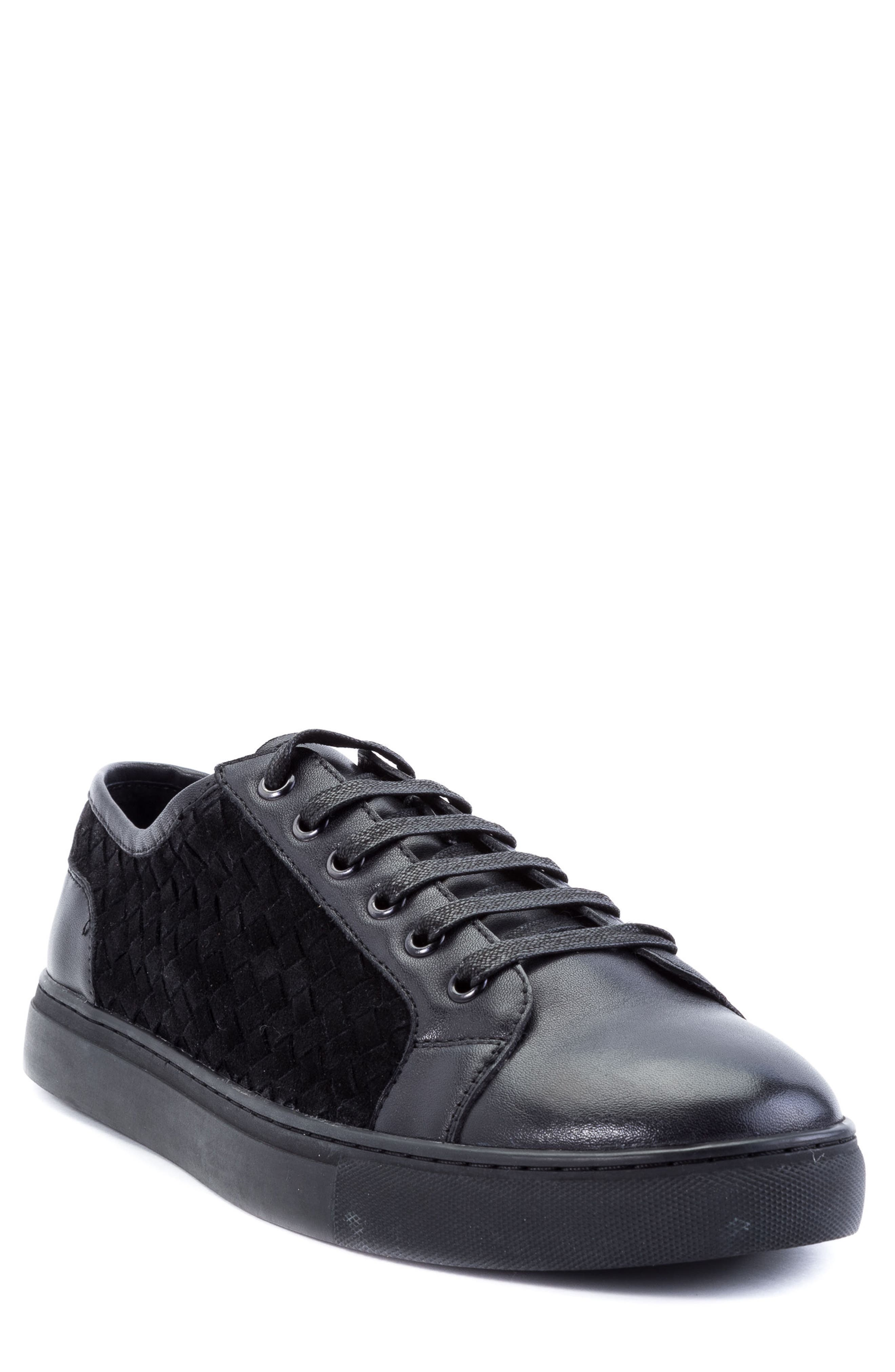 Player Woven Low Top Sneaker,                             Main thumbnail 1, color,                             BLACK LEATHER/ SUEDE