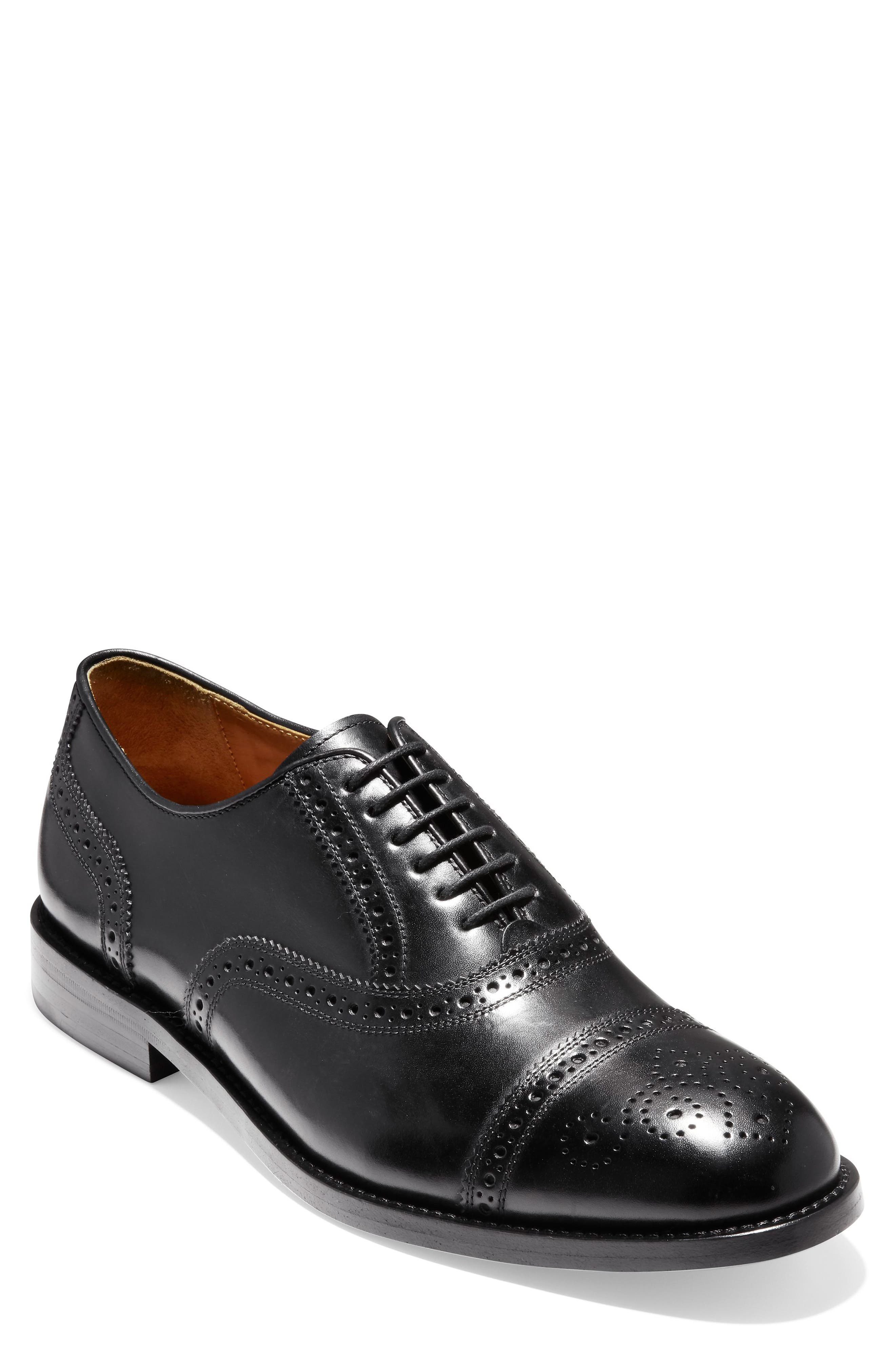 American Classics Kneeland Cap Toe Oxford,                         Main,                         color, BLACK LEATHER