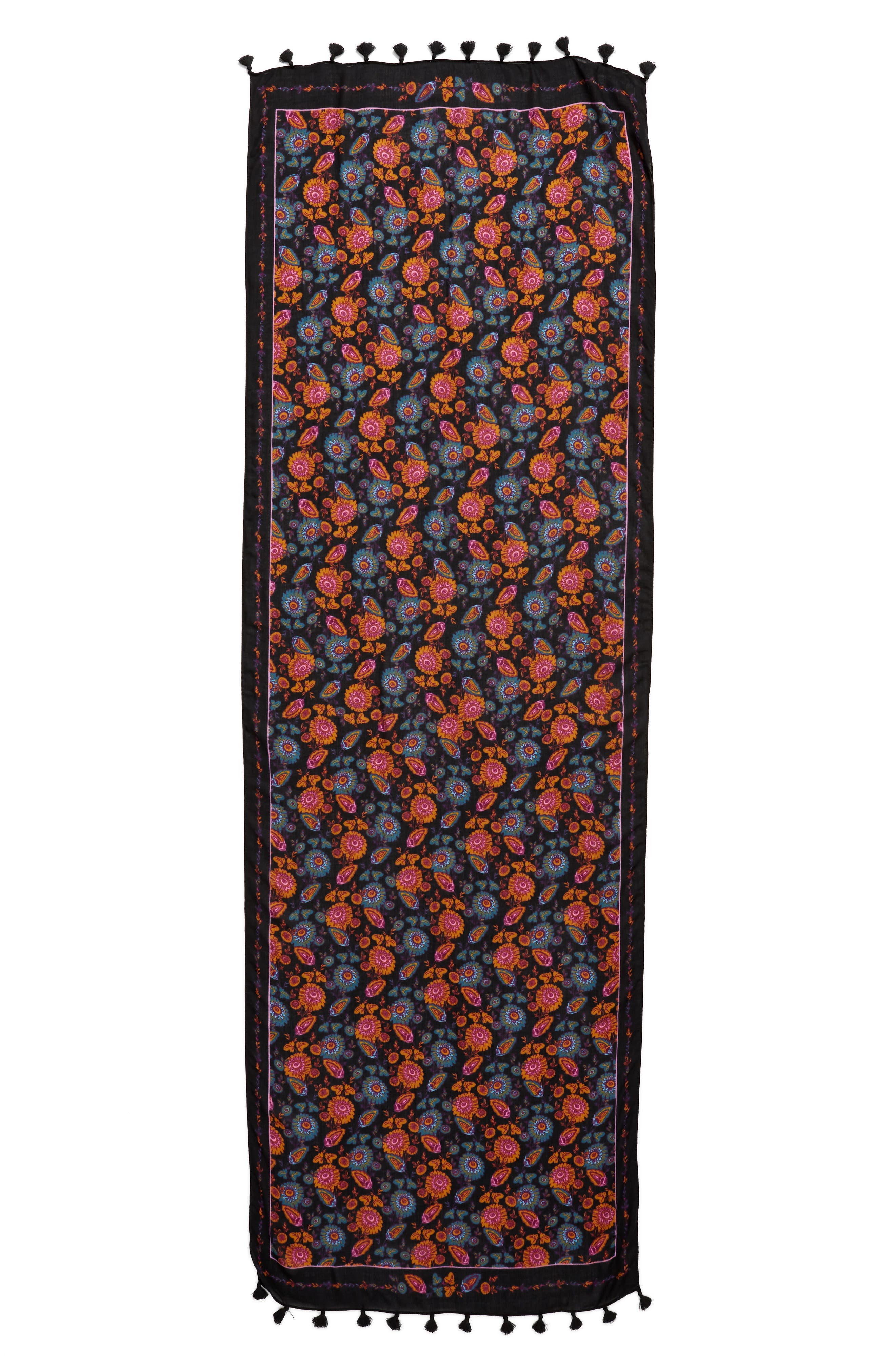 Acid Floral Twill Scarf,                             Alternate thumbnail 3, color,                             001