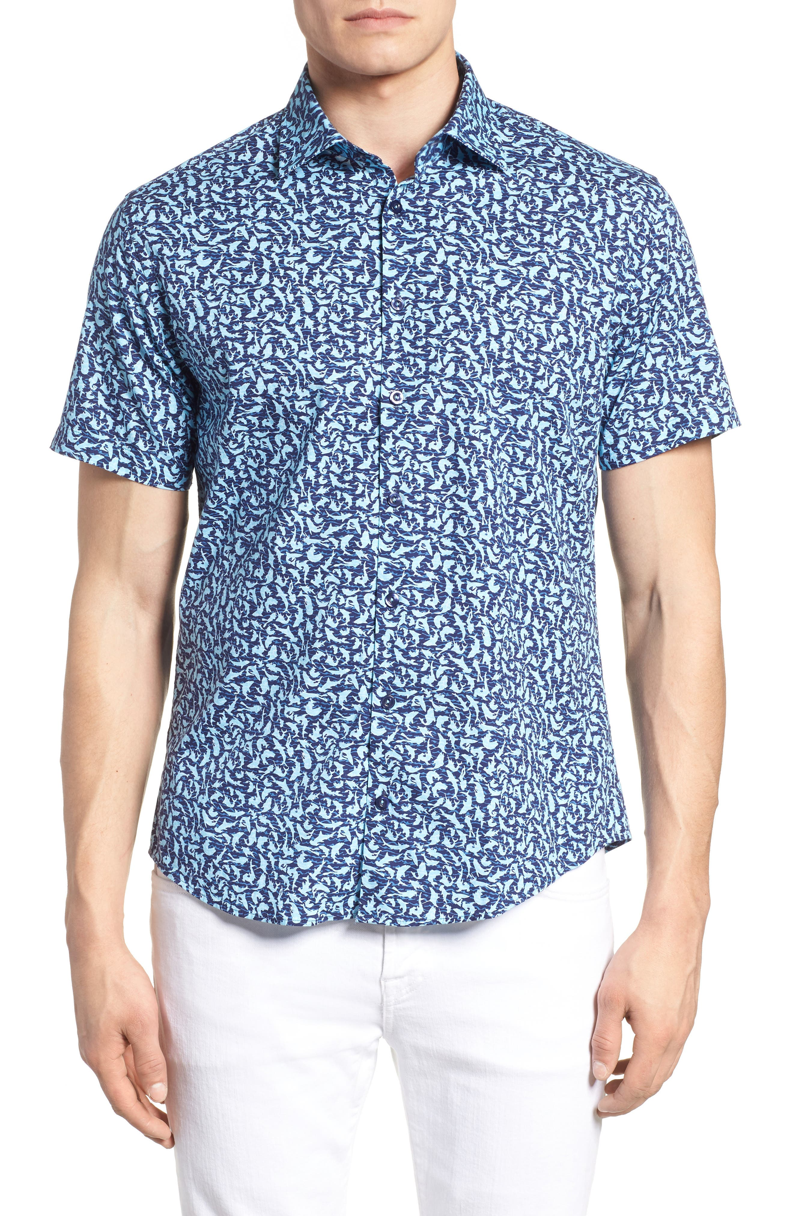 Slim Fit Shark Print Sport Shirt,                             Alternate thumbnail 4, color,                             439