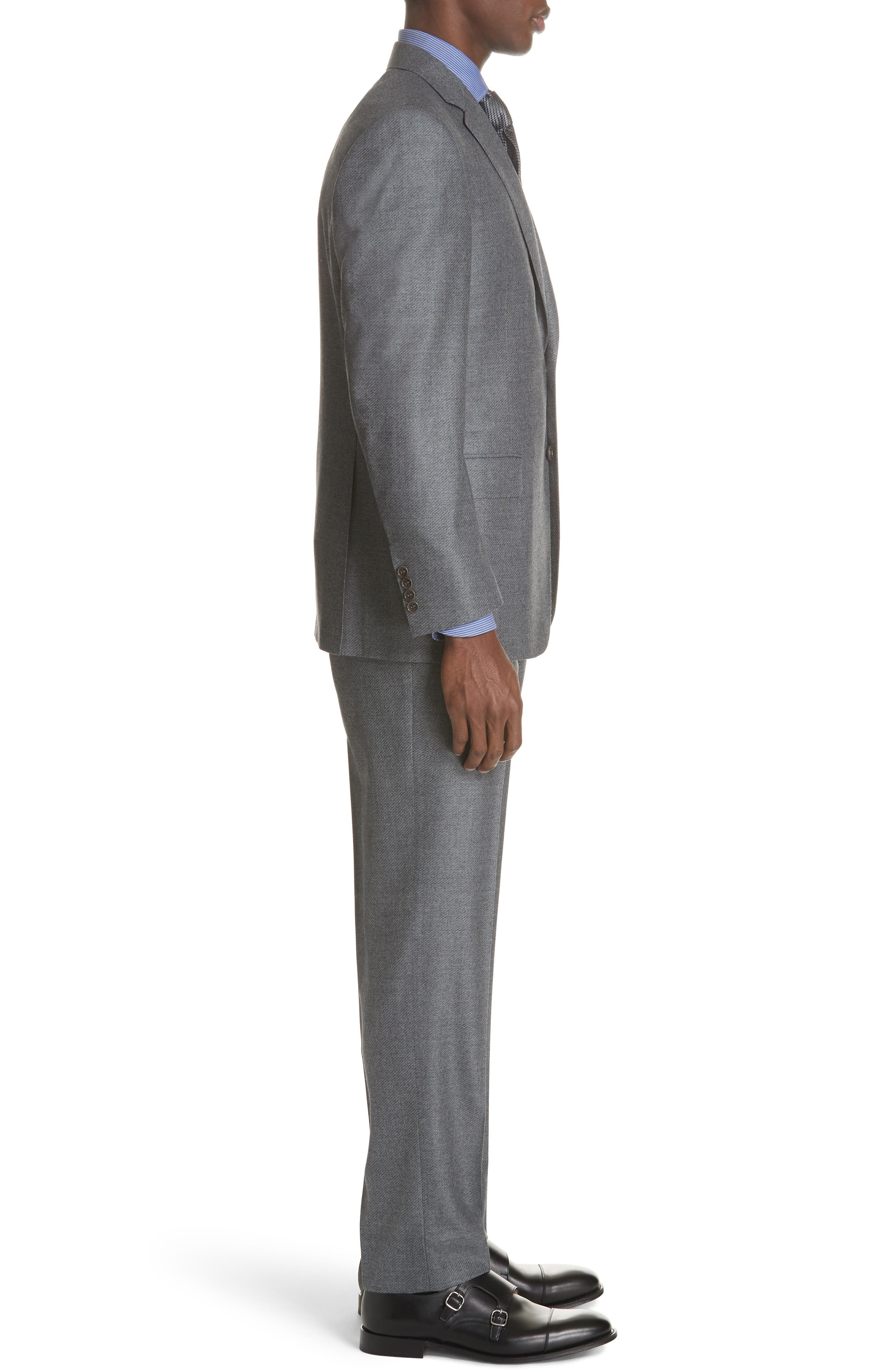 Classic Fit Stretch Solid Wool Suit,                             Alternate thumbnail 3, color,                             MED GREY