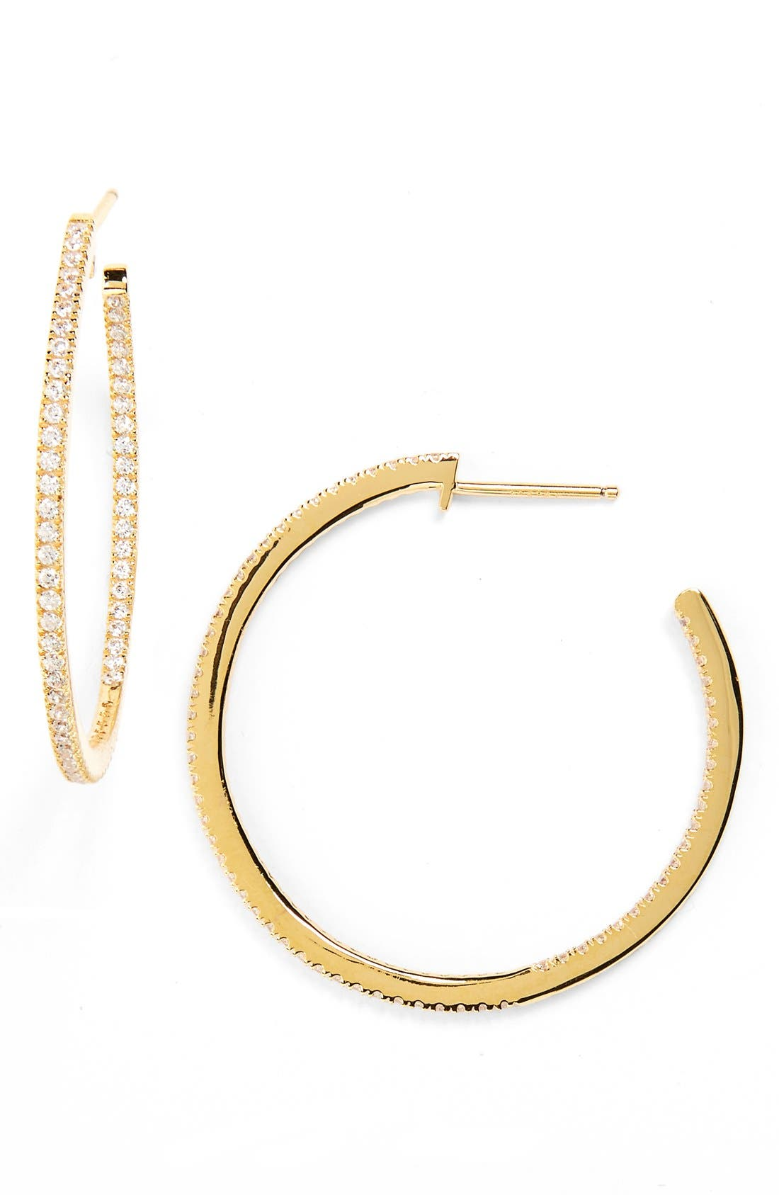 Inside Out Hoop Earrings,                         Main,                         color, CLEAR- GOLD
