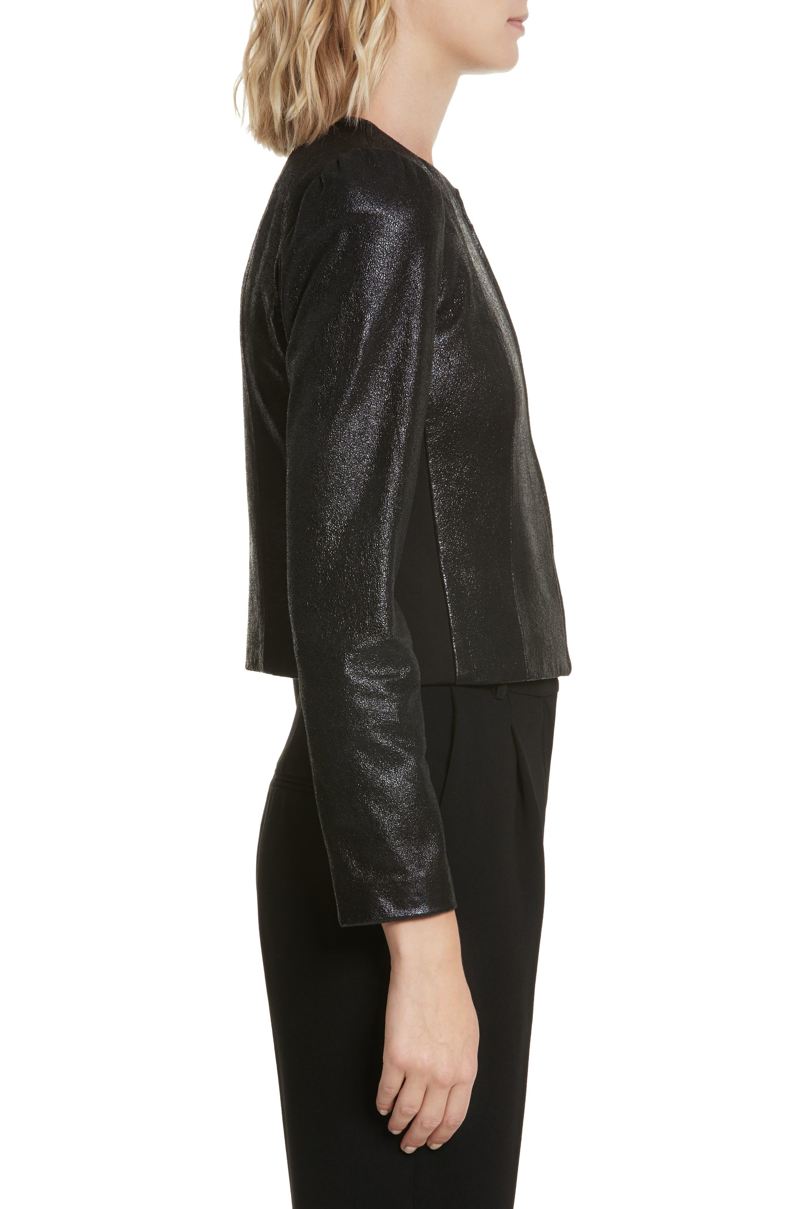 Metallic Leather Jacket,                             Alternate thumbnail 3, color,                             BLACK SPARKLE