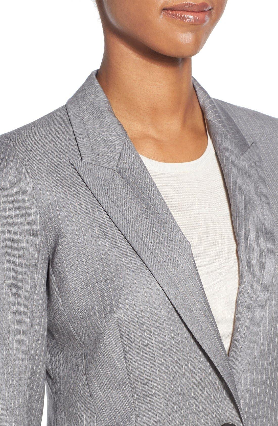 'Jelenna' Pinstripe One-Button Suit Jacket,                             Alternate thumbnail 6, color,                             060