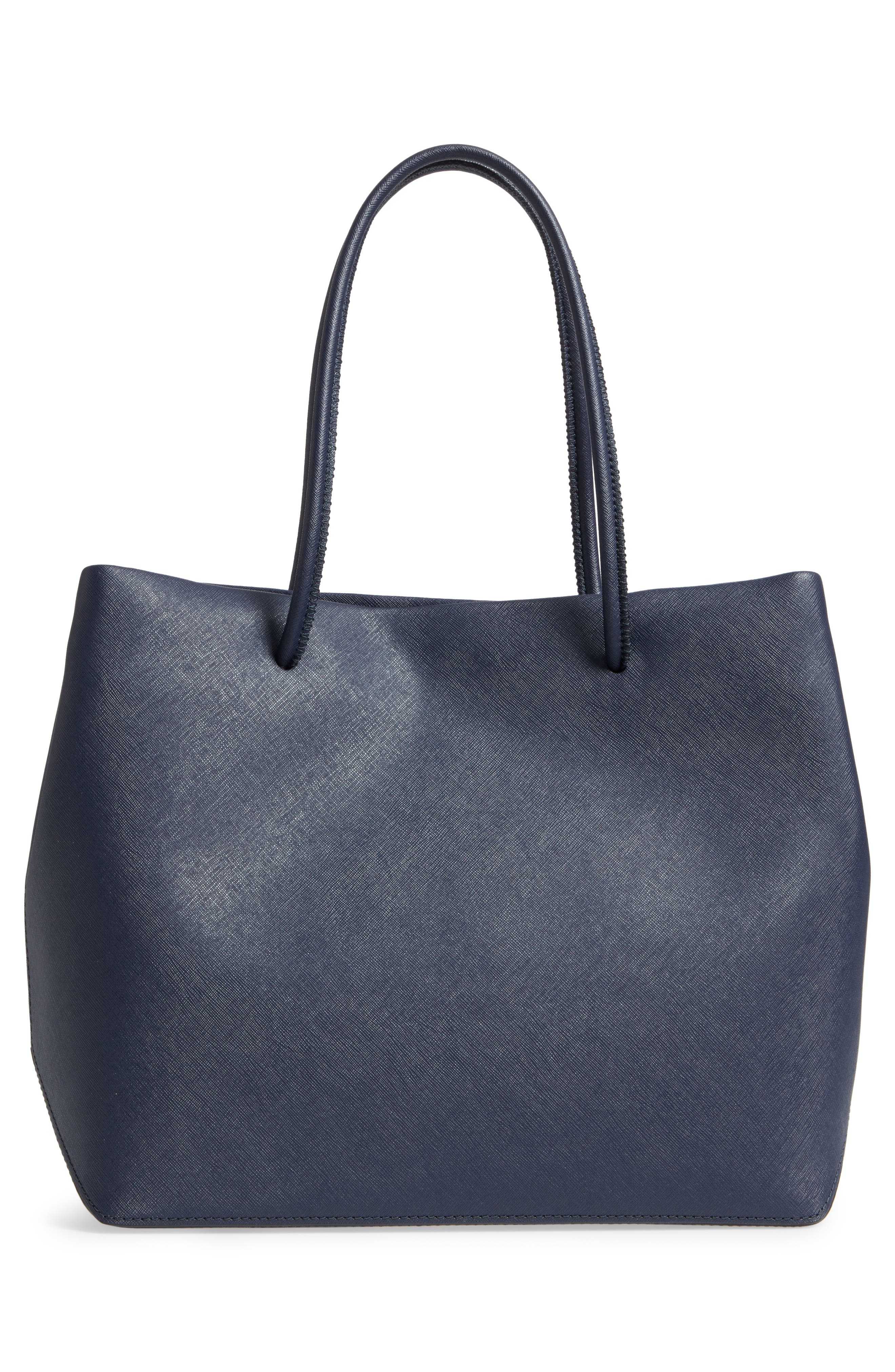 Popcorn Logo Scream Leather Tote,                             Alternate thumbnail 3, color,                             409
