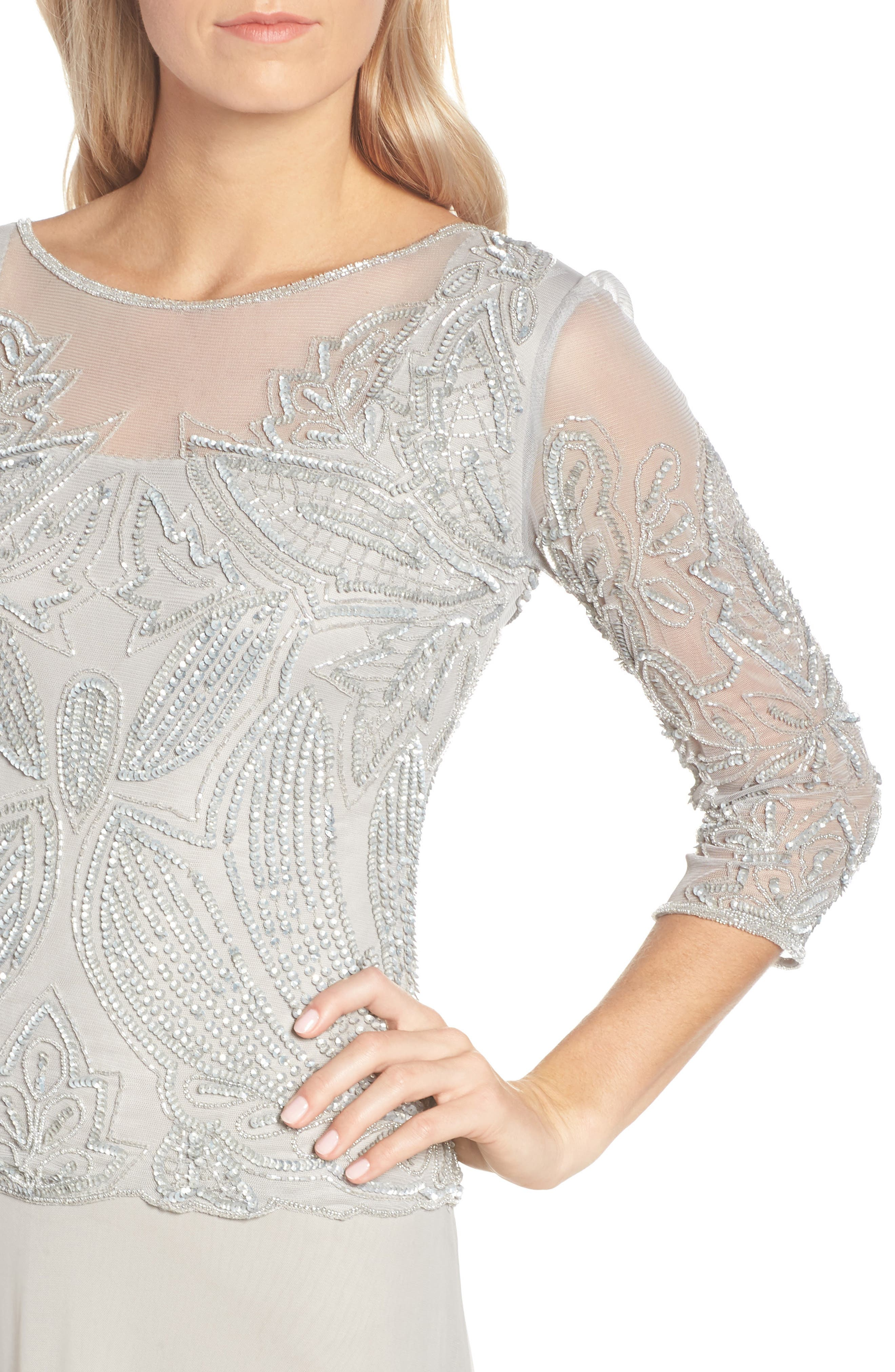 Embellished Mesh Gown,                             Alternate thumbnail 4, color,                             SILVER GREY