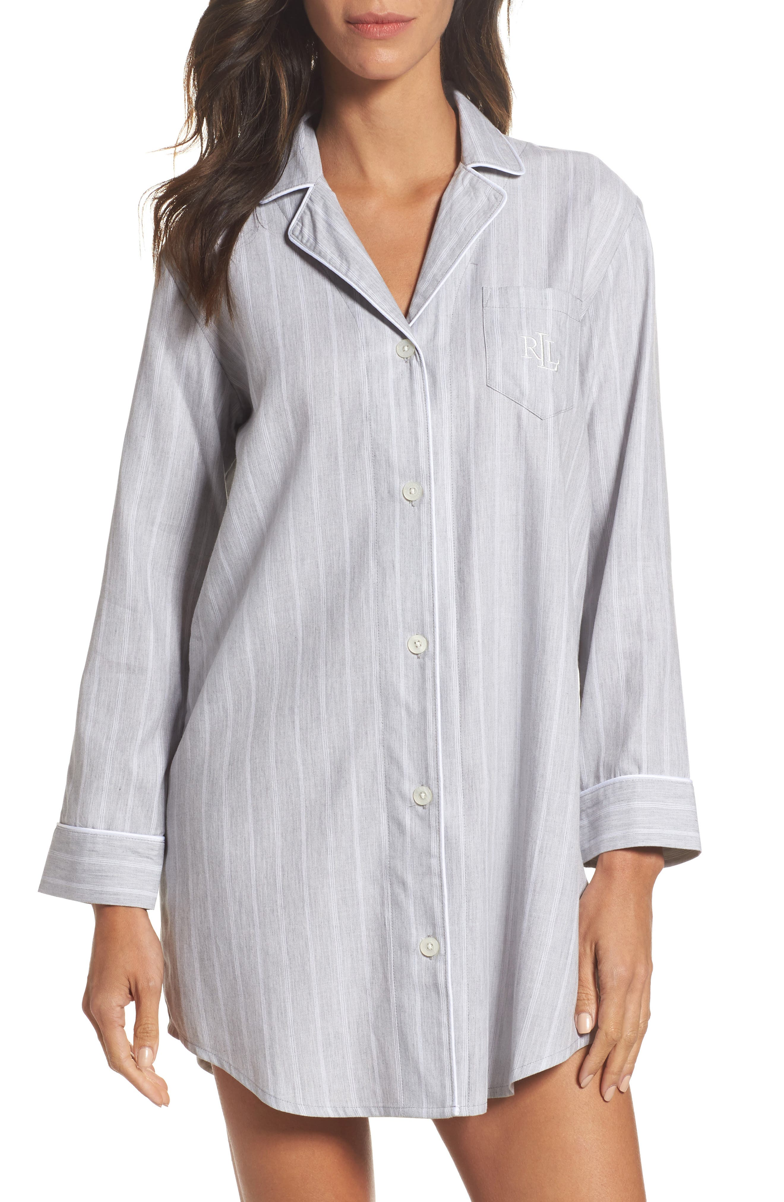 Notch Collar Sleep Shirt,                             Main thumbnail 1, color,                             060