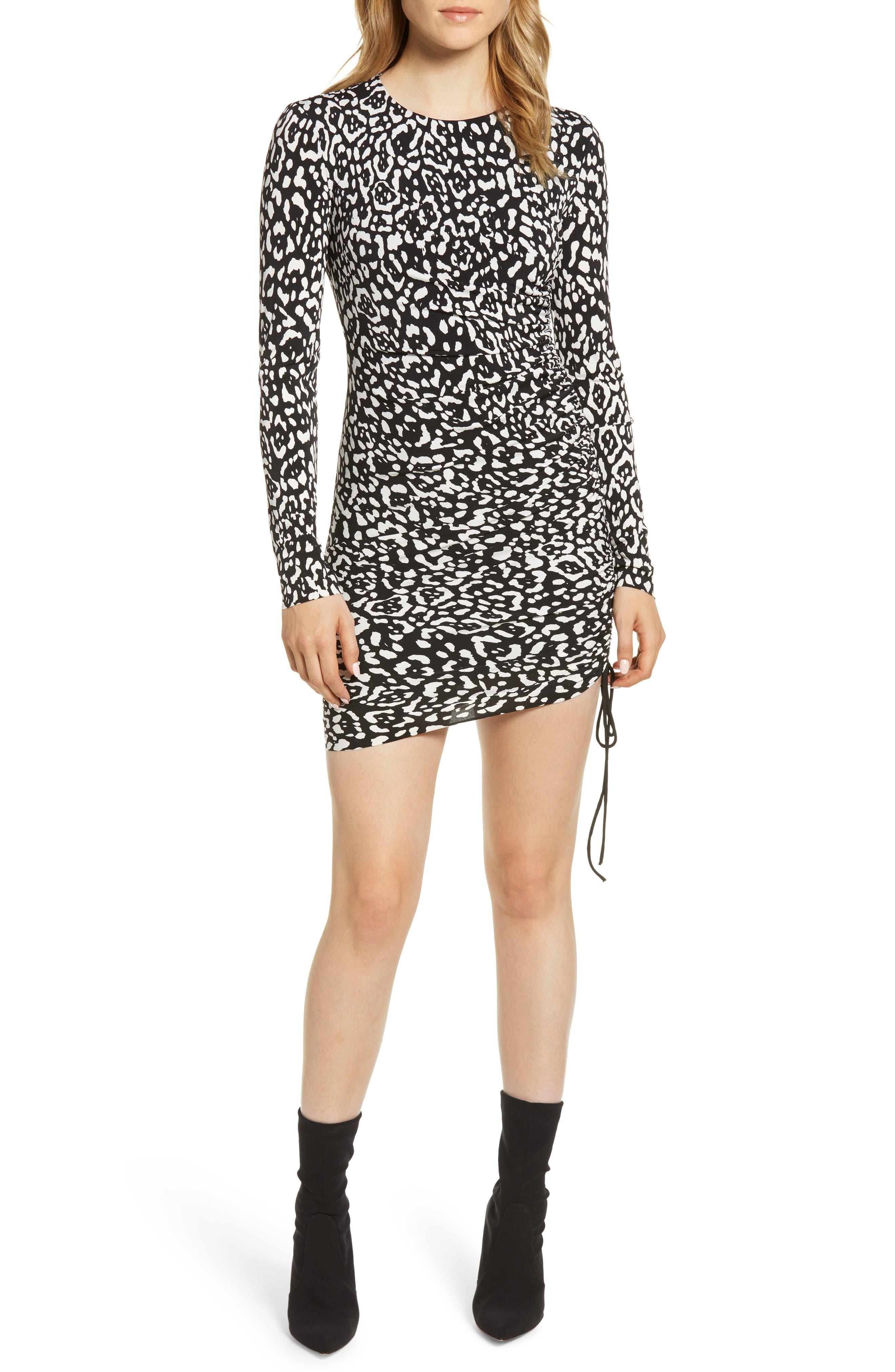 Boogie Wonderland Leopard Print Minidress,                             Main thumbnail 1, color,                             BLACK/ CHALK