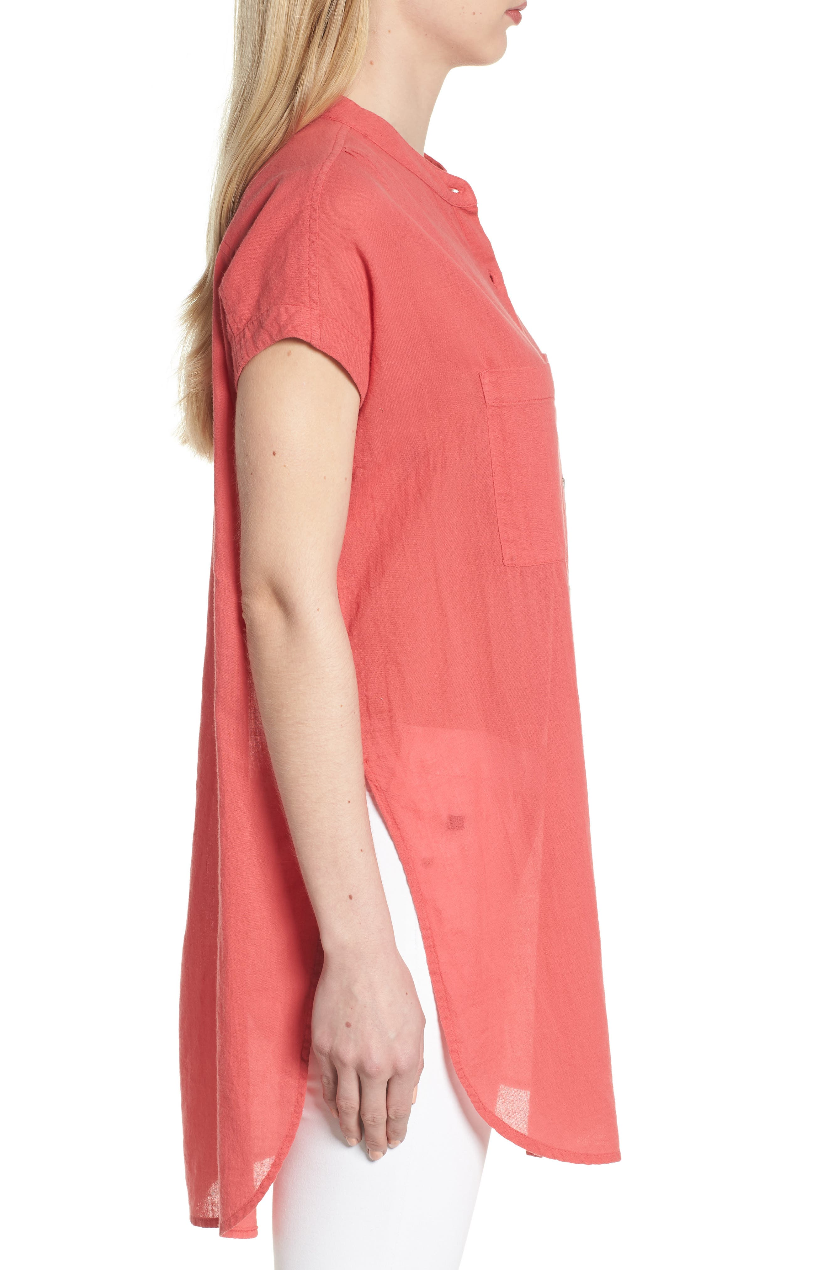 Button Front Longline Top,                             Alternate thumbnail 25, color,