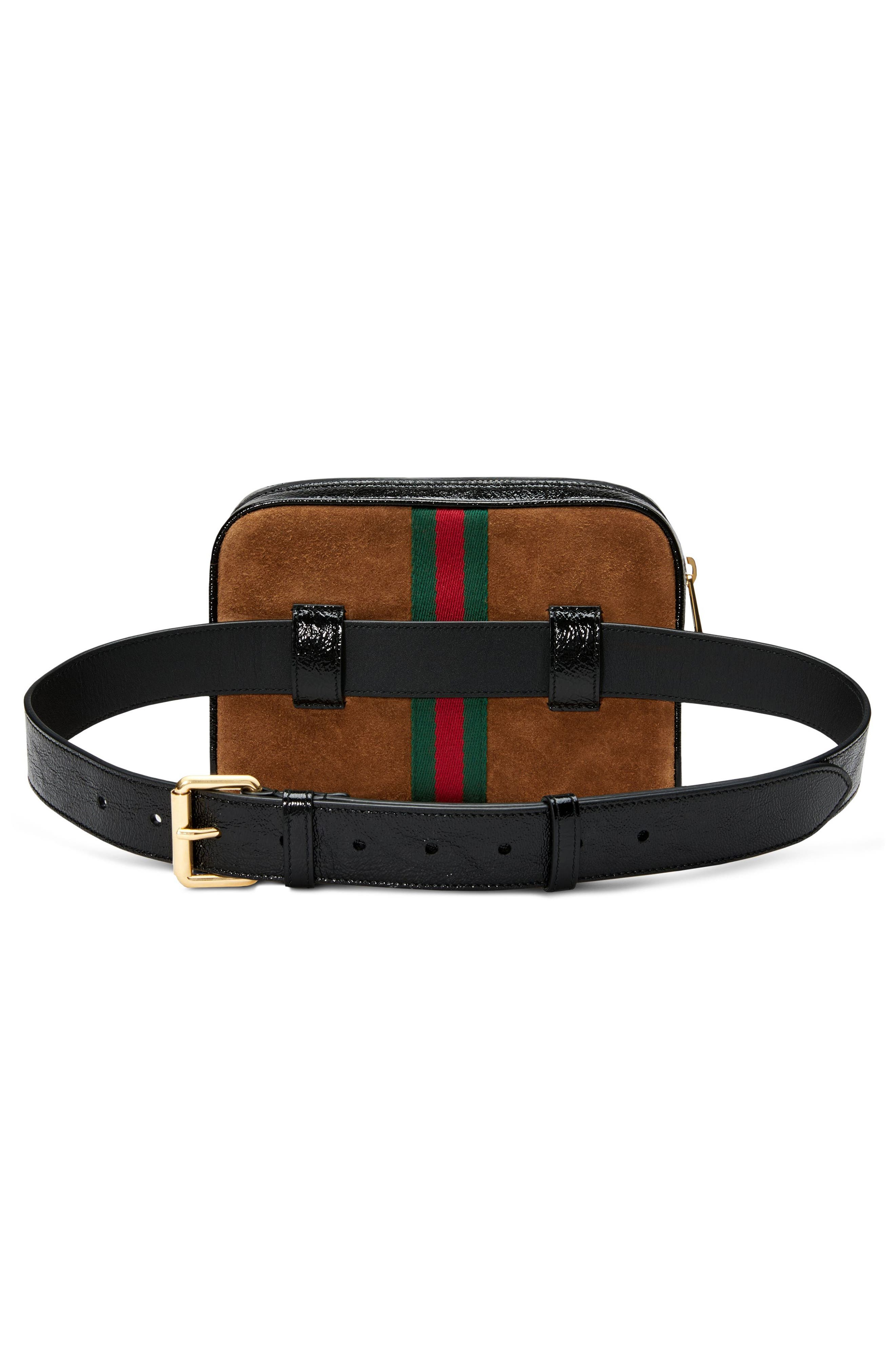 Ophidia Small Suede Belt Bag,                             Alternate thumbnail 4, color,                             NOCCIOLA/ NERO/ VERT RED