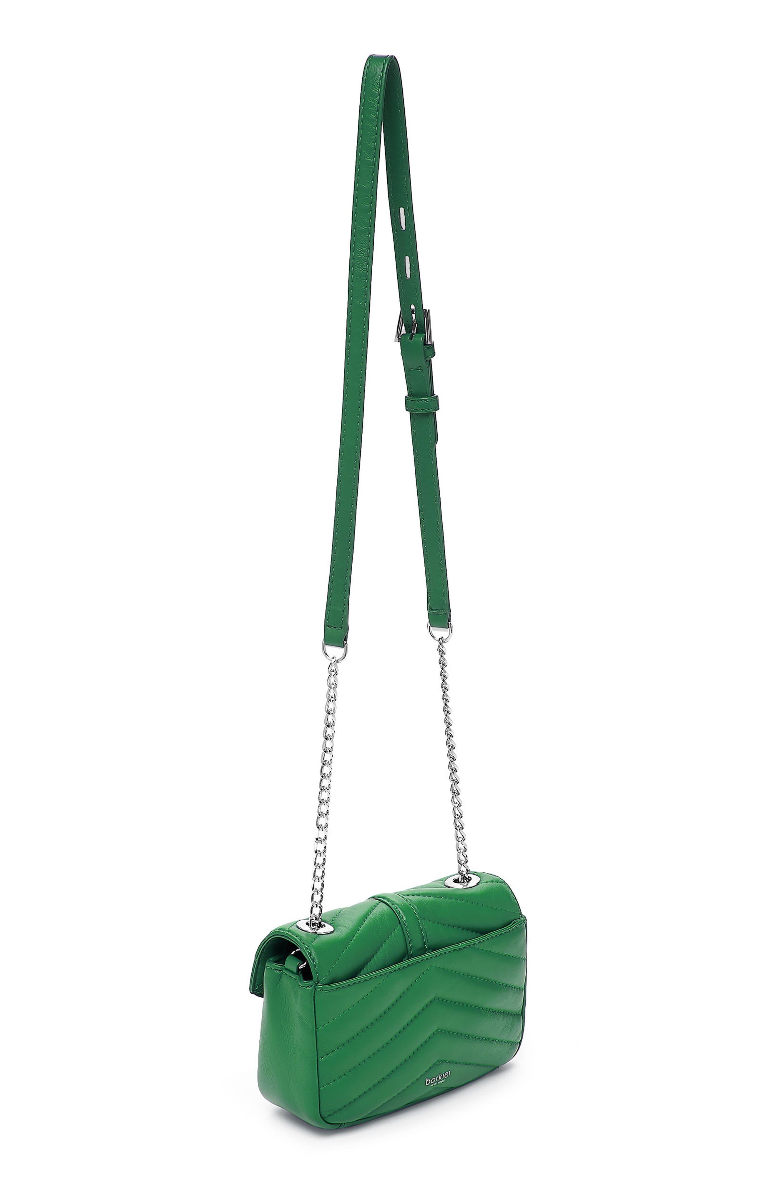 Dakota Quilted Leather Crossbody Bag,                             Alternate thumbnail 4, color,                             GREEN