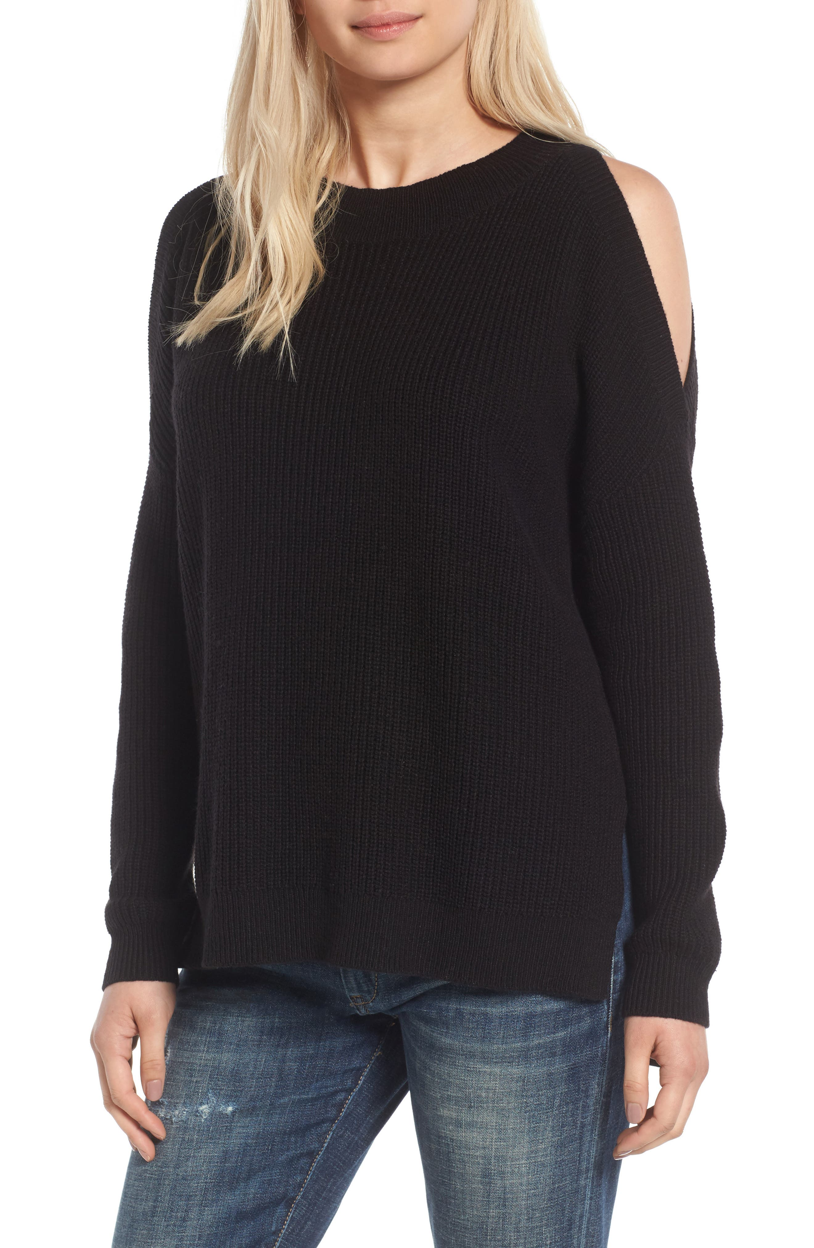 Cold Shoulder Tunic Sweater,                             Main thumbnail 1, color,                             001