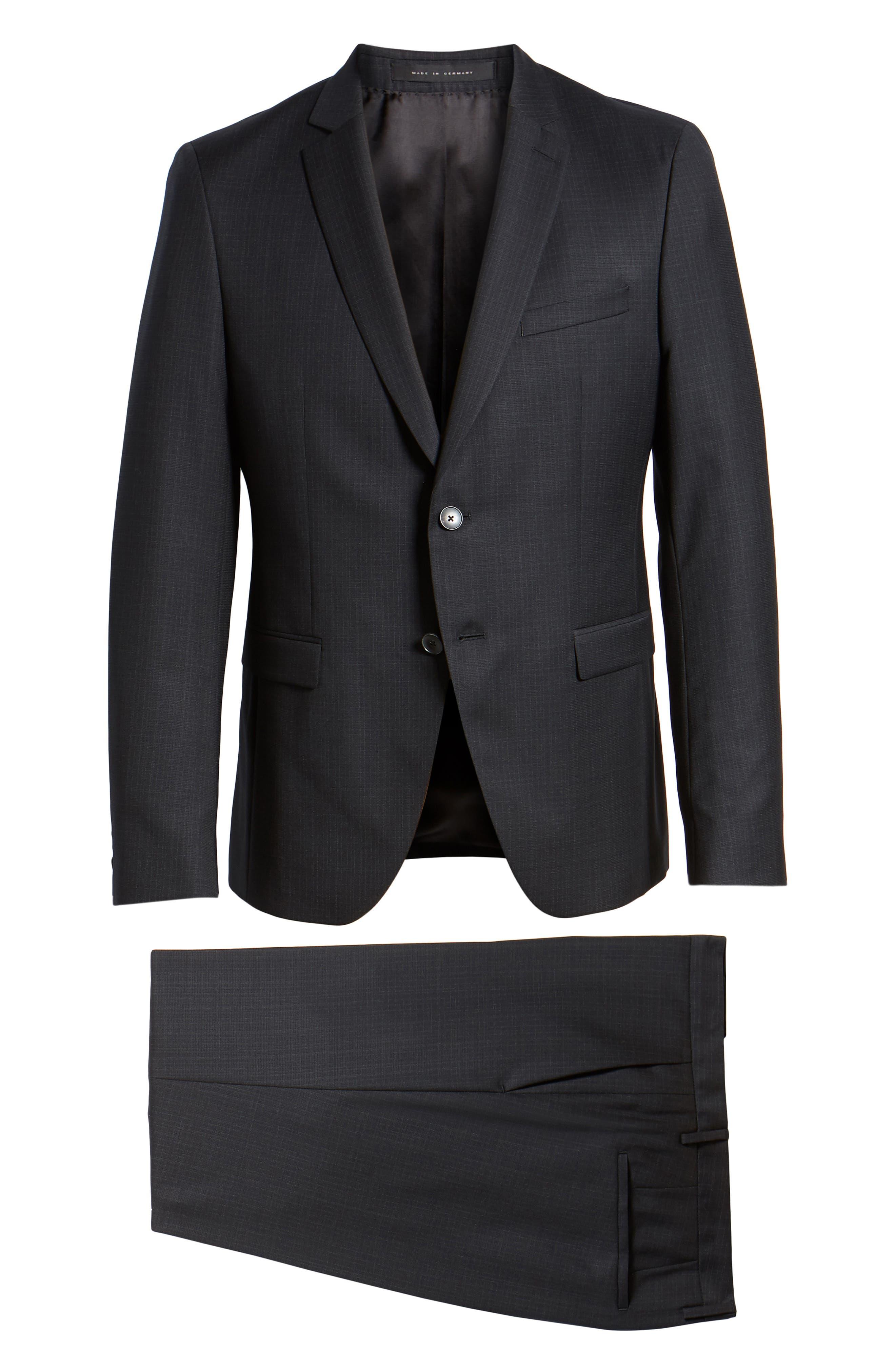 Reymond/Wenten Extra Trim Fit Check Wool Suit,                             Alternate thumbnail 8, color,                             BLACK