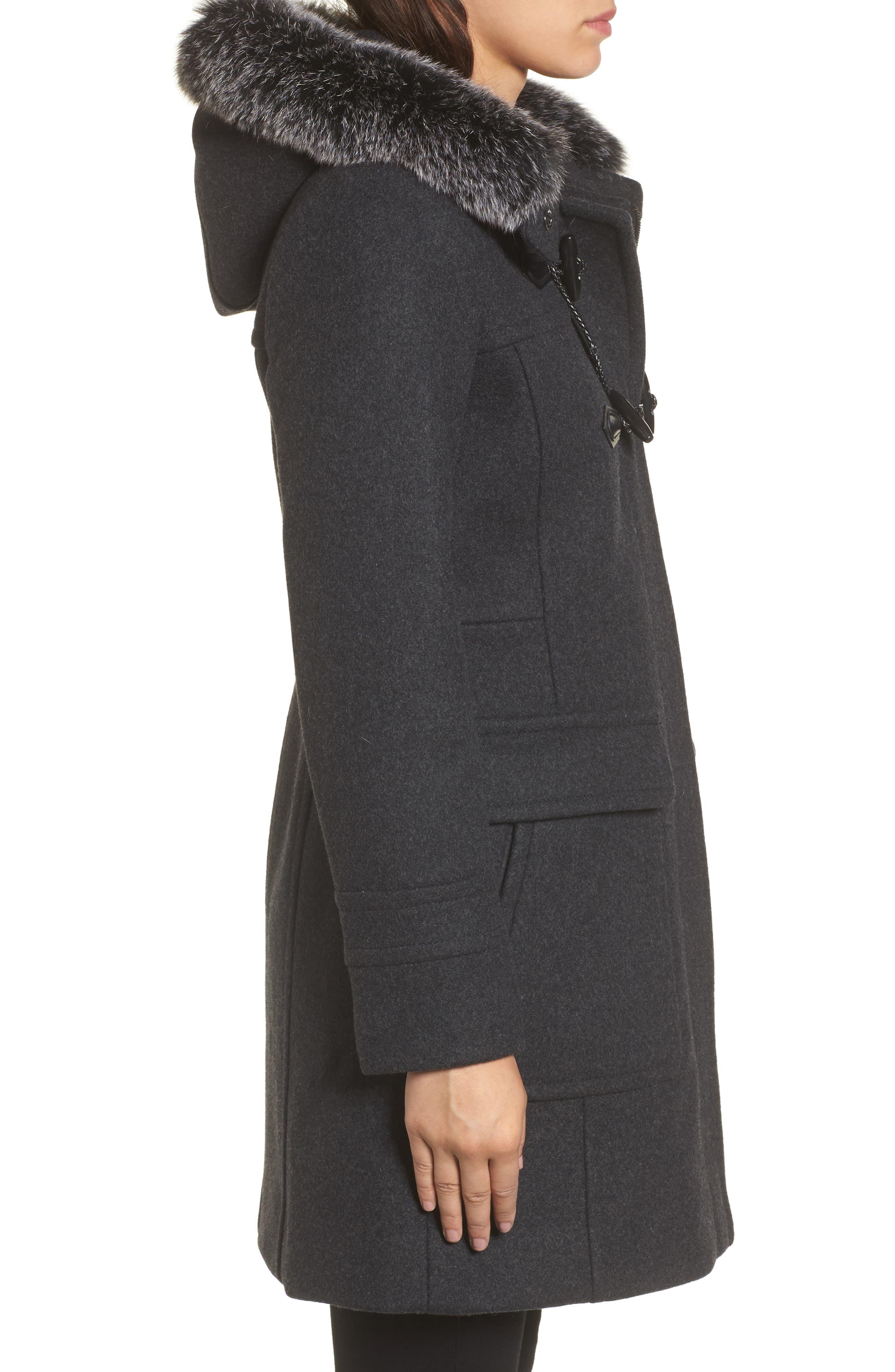 Connie Duffle Coat with Genuine Fox Fur,                             Alternate thumbnail 3, color,                             022