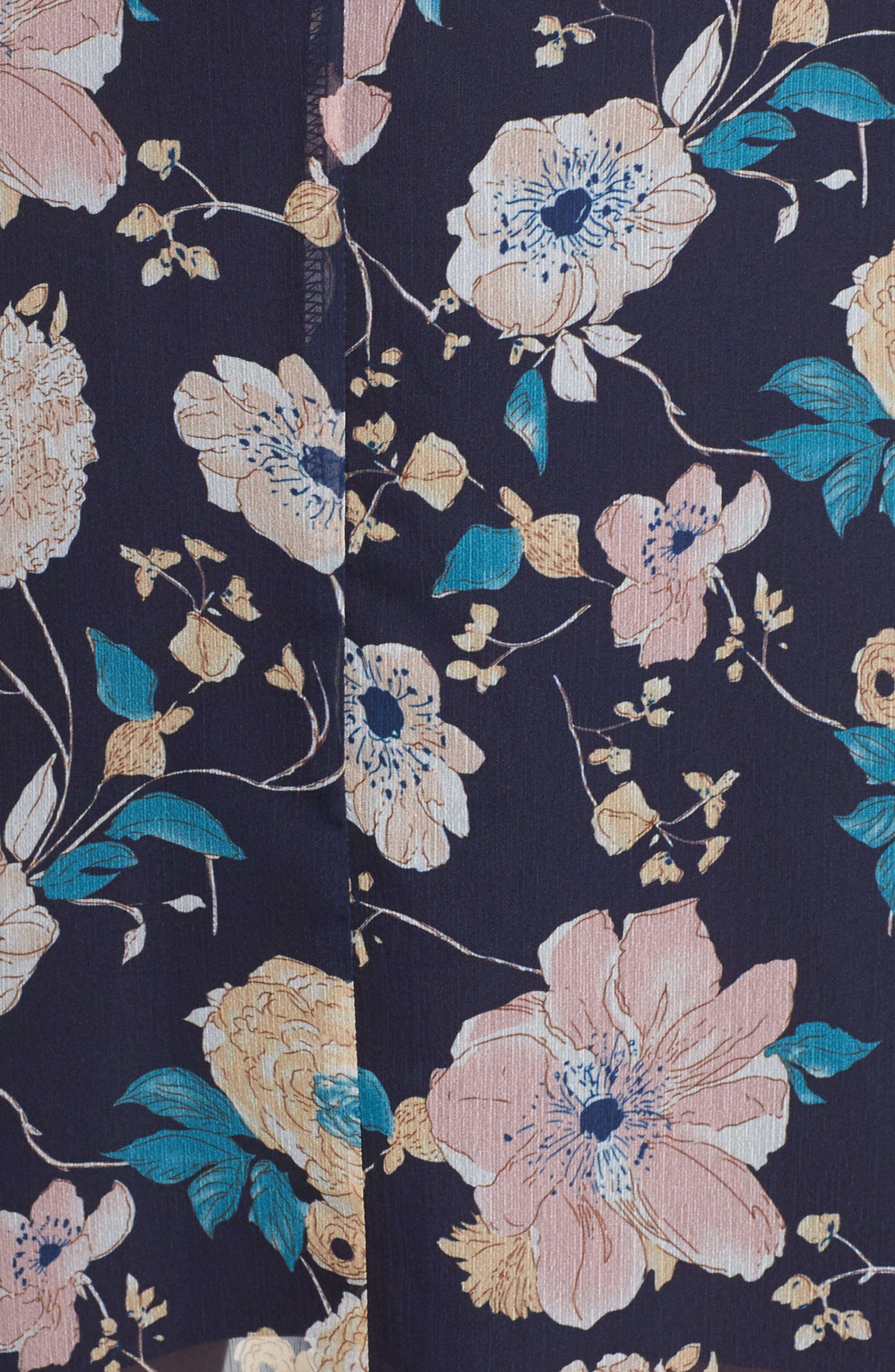 Brylee Floral Print Maxi Dress,                             Alternate thumbnail 5, color,                             400