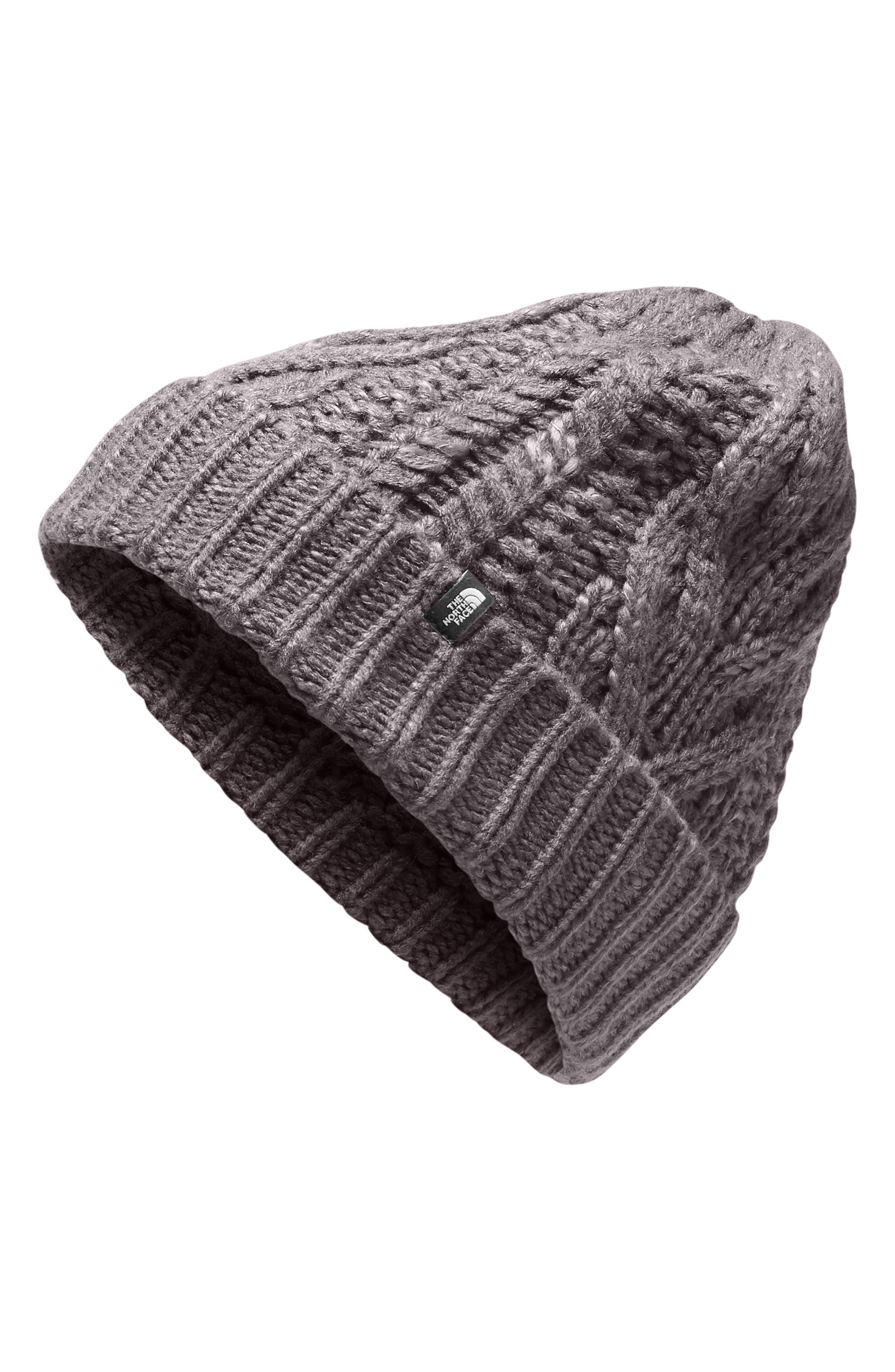 Minna Cable Knit Beanie,                             Main thumbnail 1, color,                             RABBIT GREY