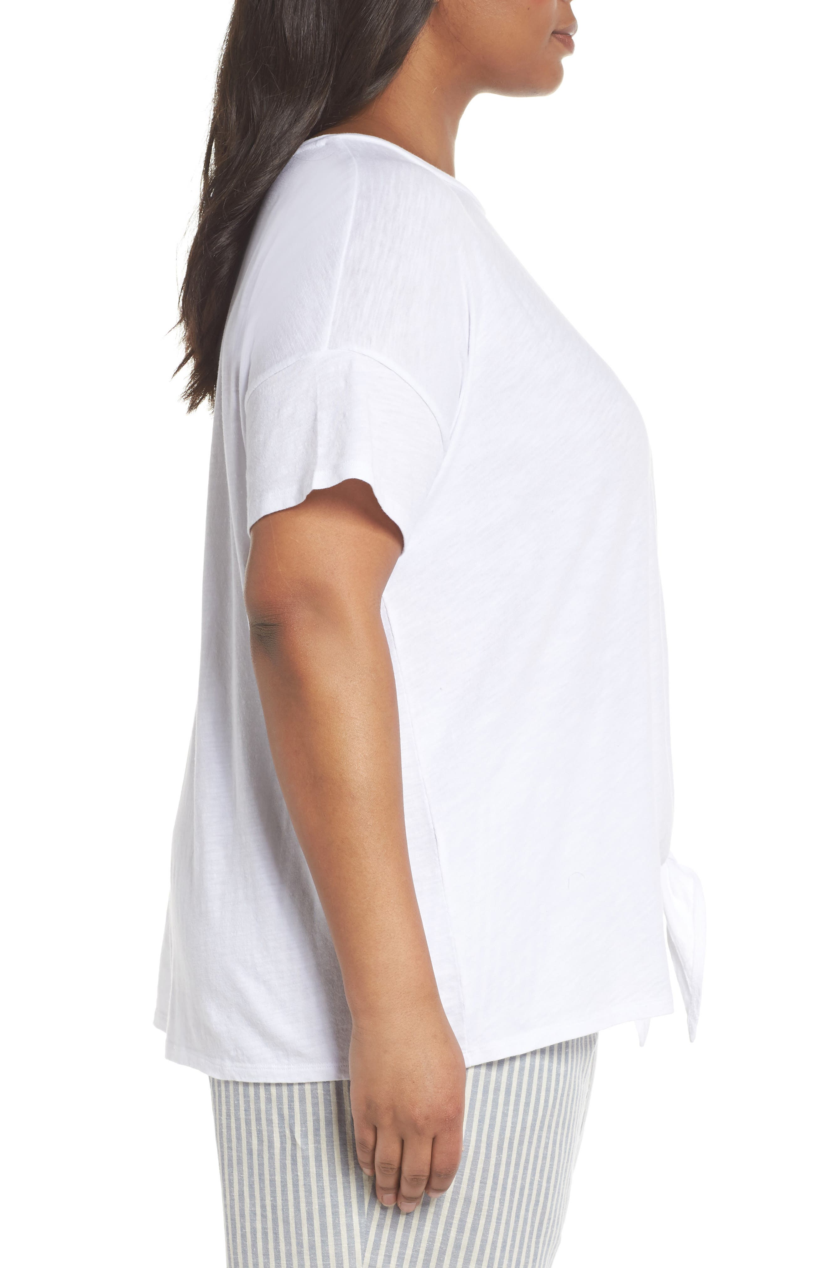 Tie Hem Organic Cotton Tee,                             Alternate thumbnail 3, color,                             100