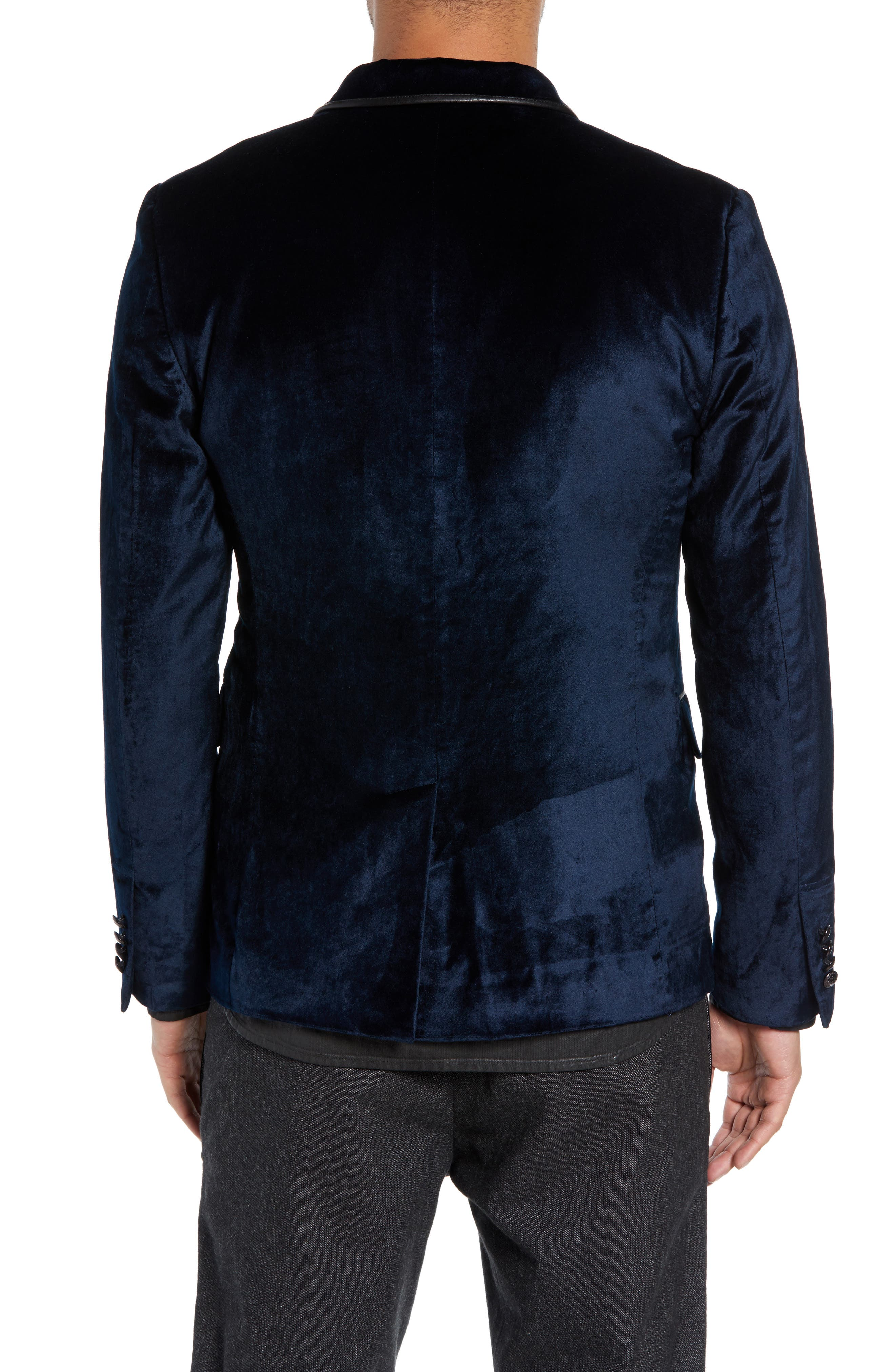 Velvet Jacket with Leather Trim,                             Alternate thumbnail 2, color,                             SAPPHIRE