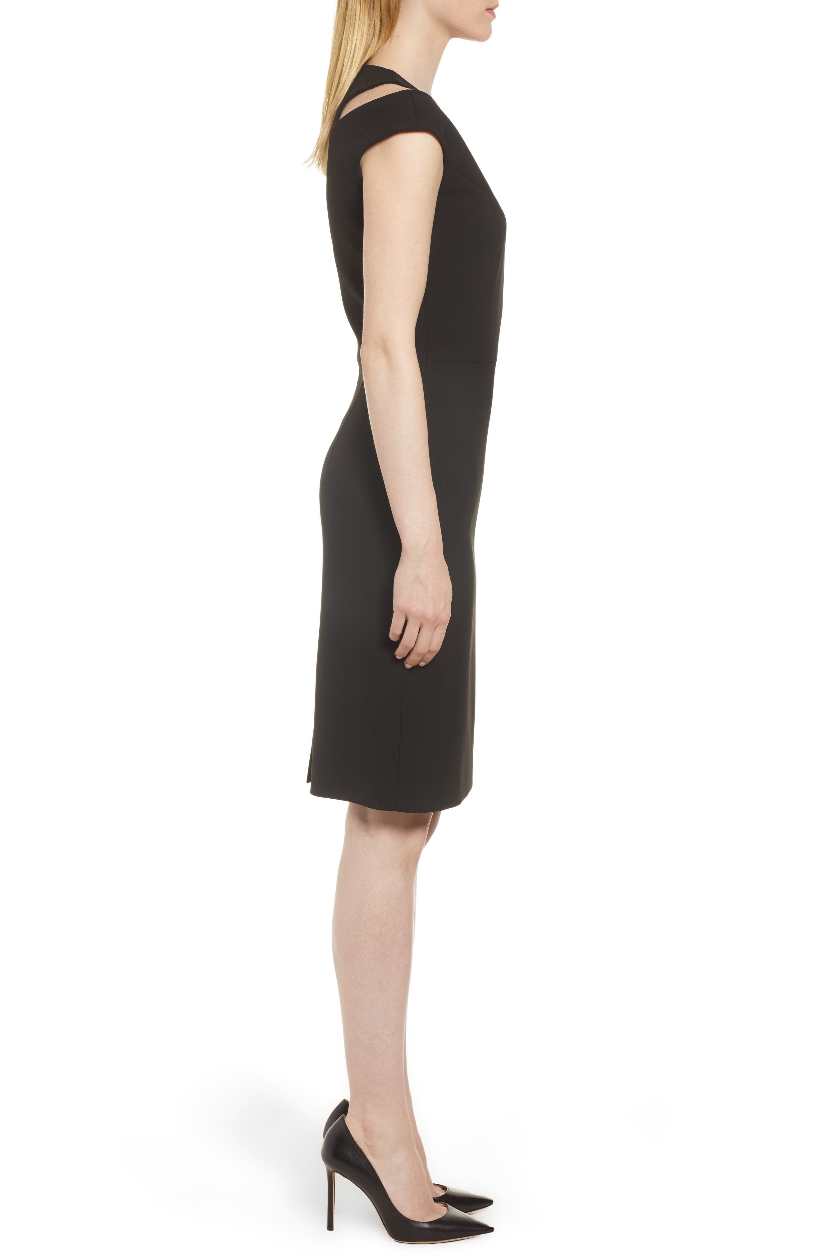 BOSS,                             Danouk Shoulder Cutout Dress,                             Alternate thumbnail 3, color,                             001