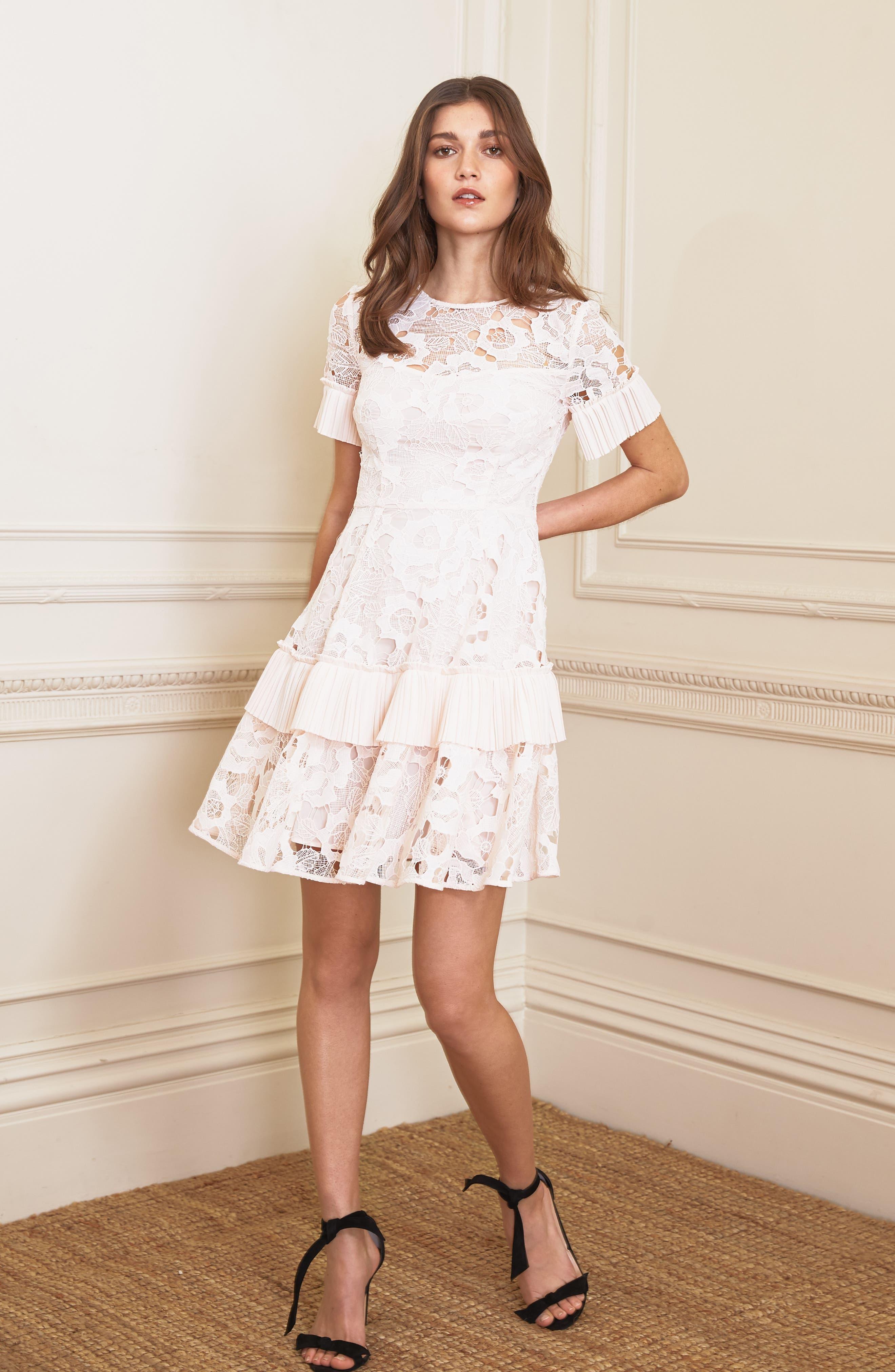 Enchantment Lace Fit & Flare Dress,                             Alternate thumbnail 7, color,                             650