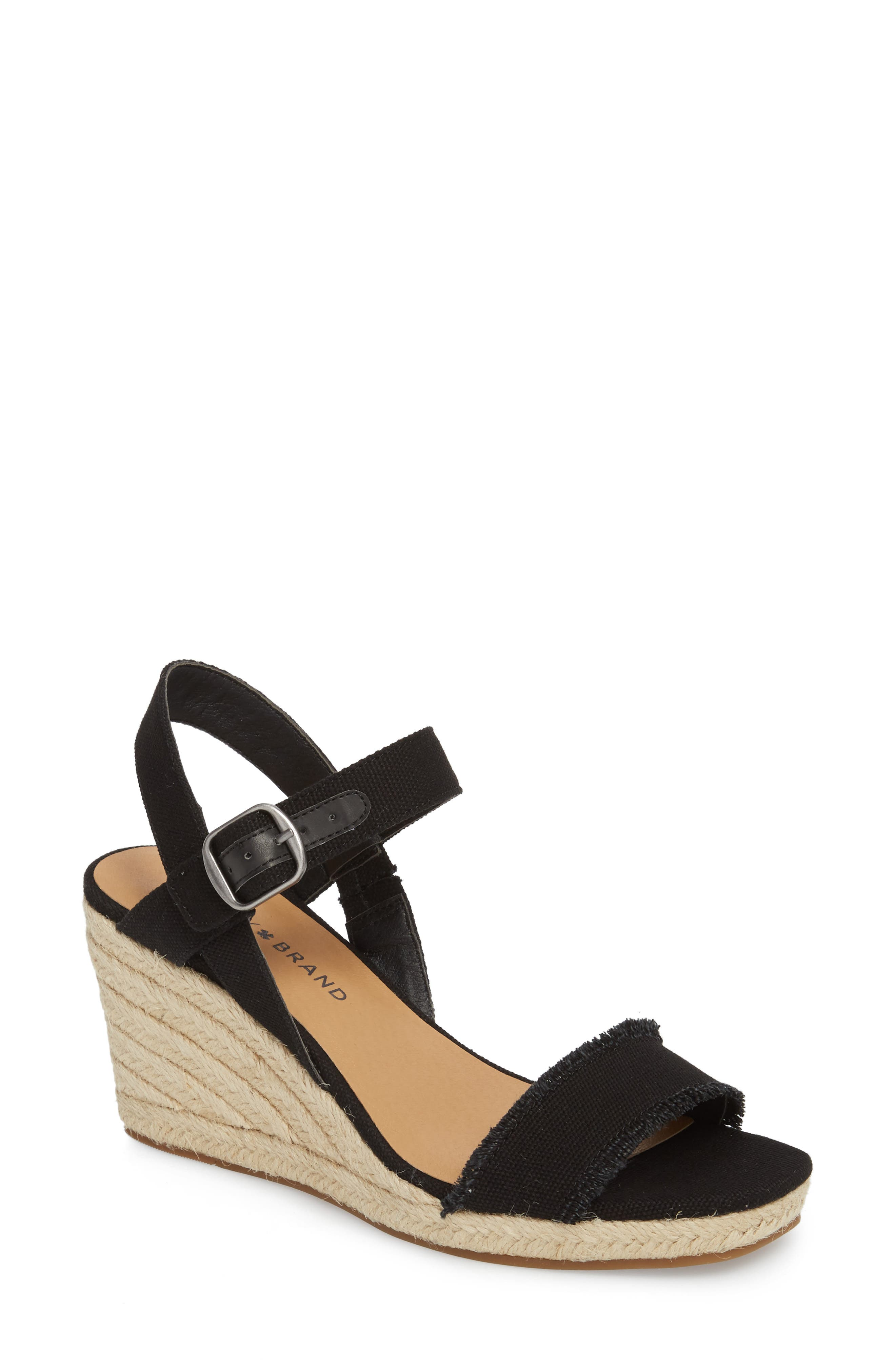 Marceline Squared Toe Wedge Sandal,                             Main thumbnail 1, color,                             001