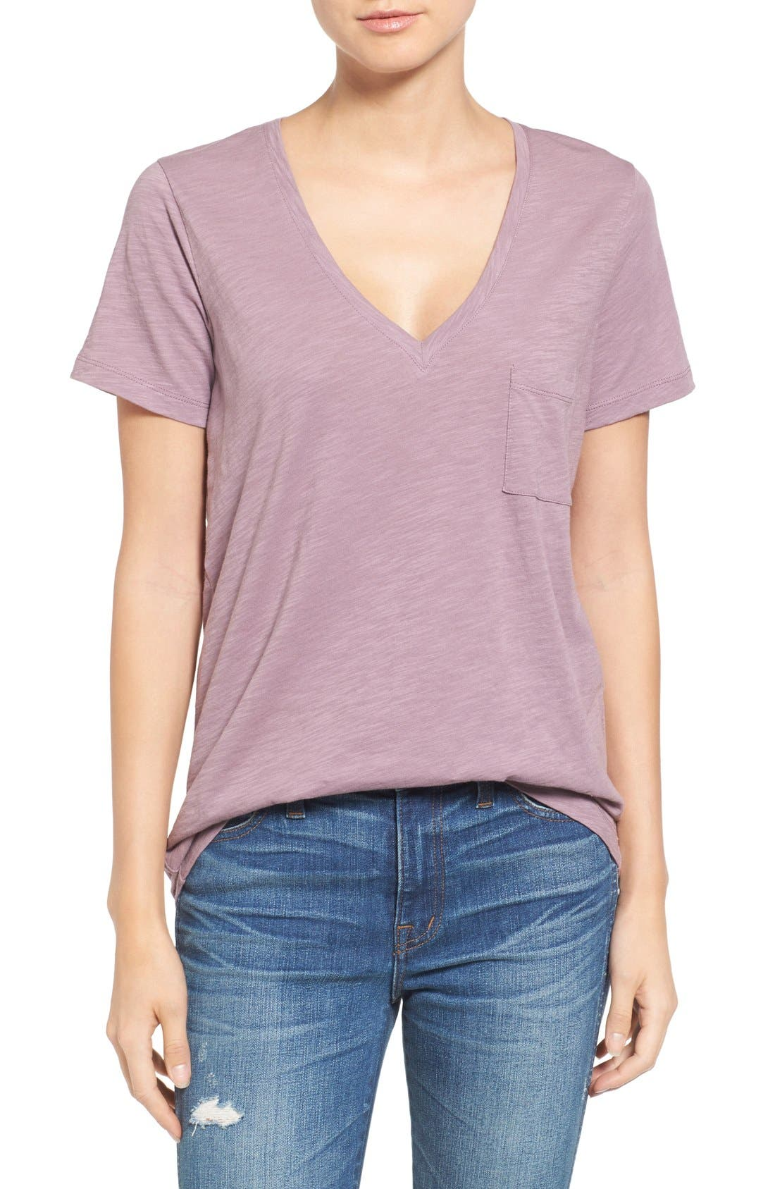 Whisper Cotton V-Neck Pocket Tee,                             Main thumbnail 27, color,