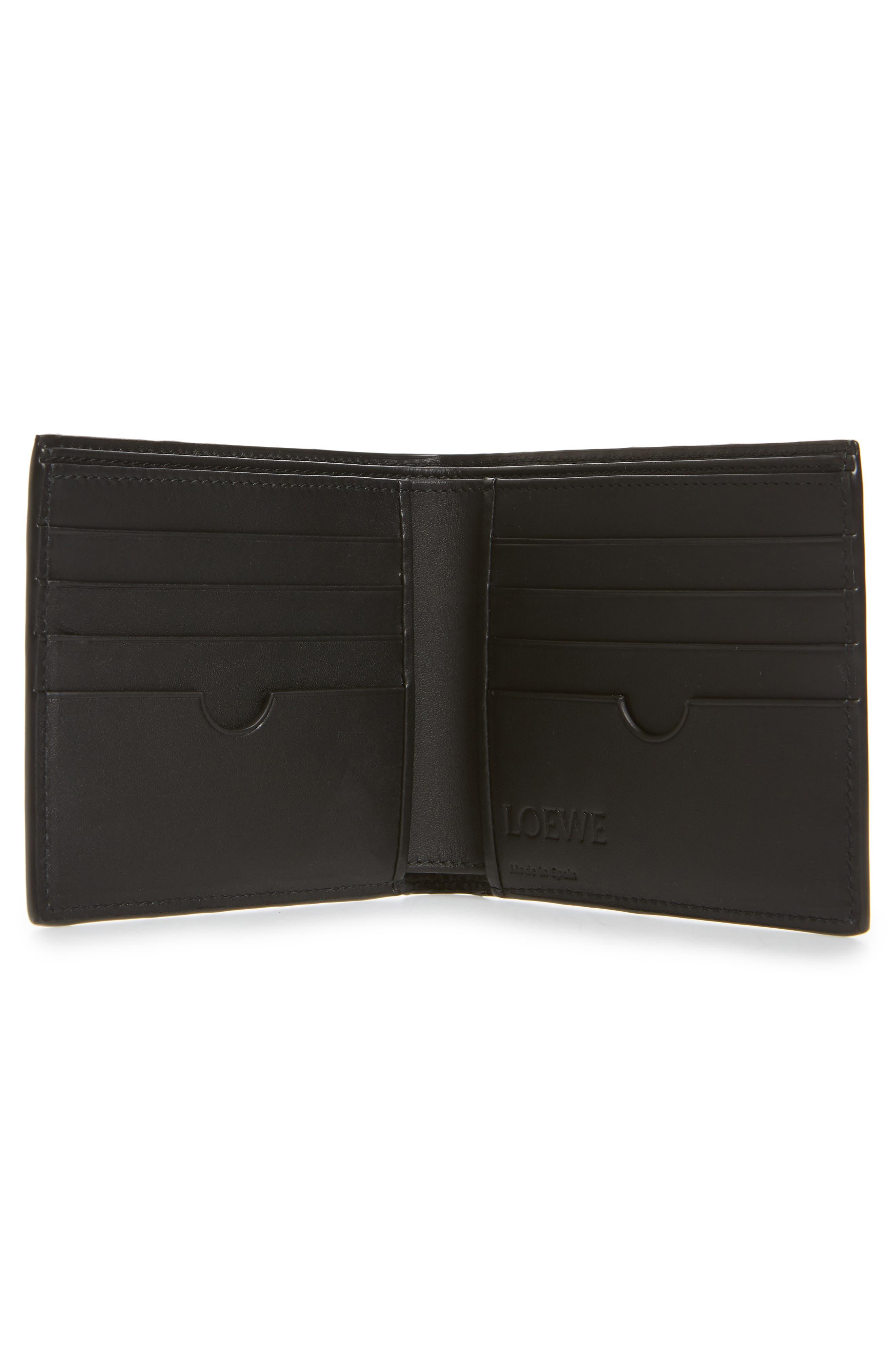 Puzzle Bifold Leather Wallet,                             Alternate thumbnail 2, color,                             BLACK