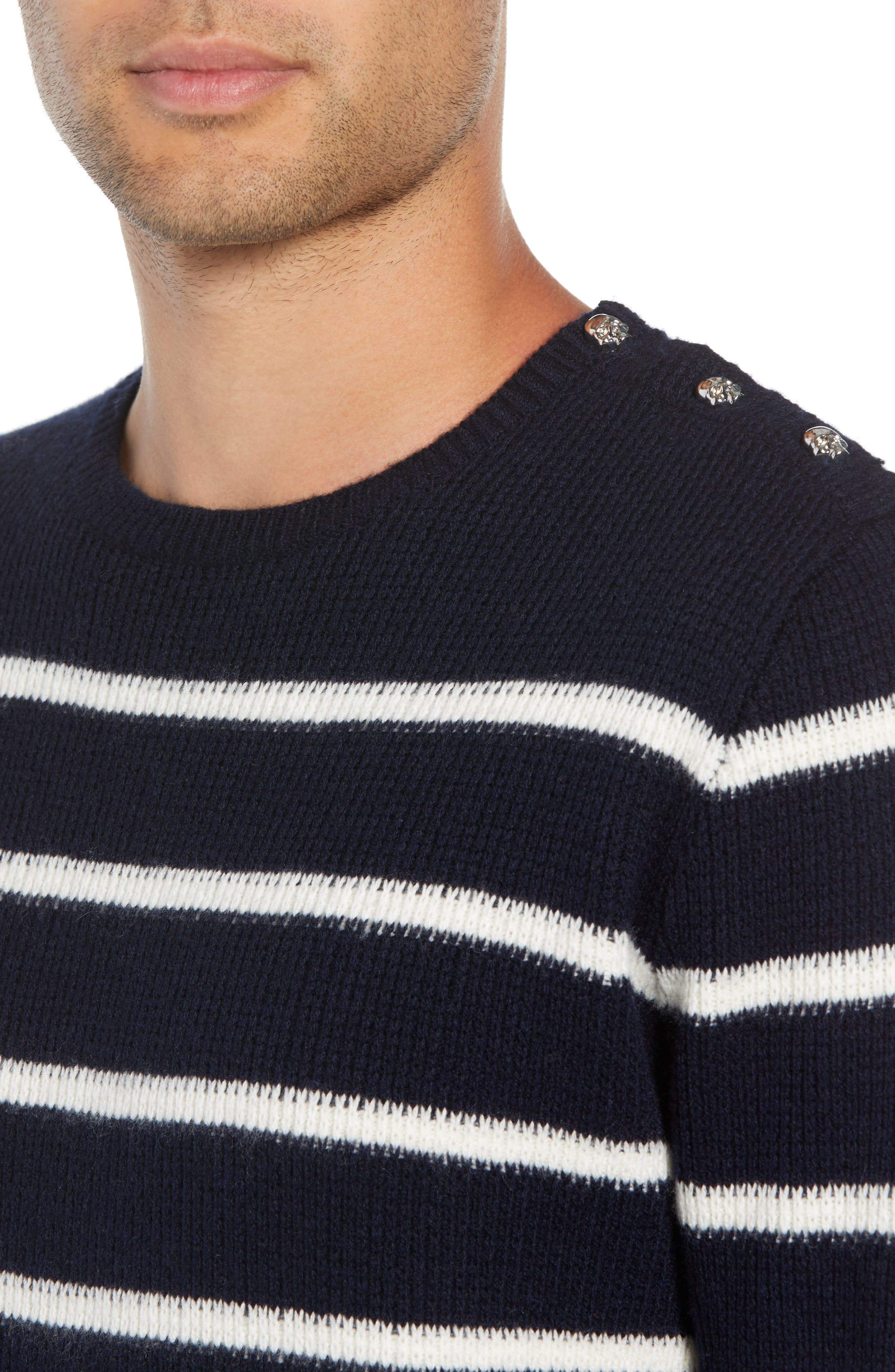 Regular Fit Striped Sweater,                             Alternate thumbnail 4, color,                             400