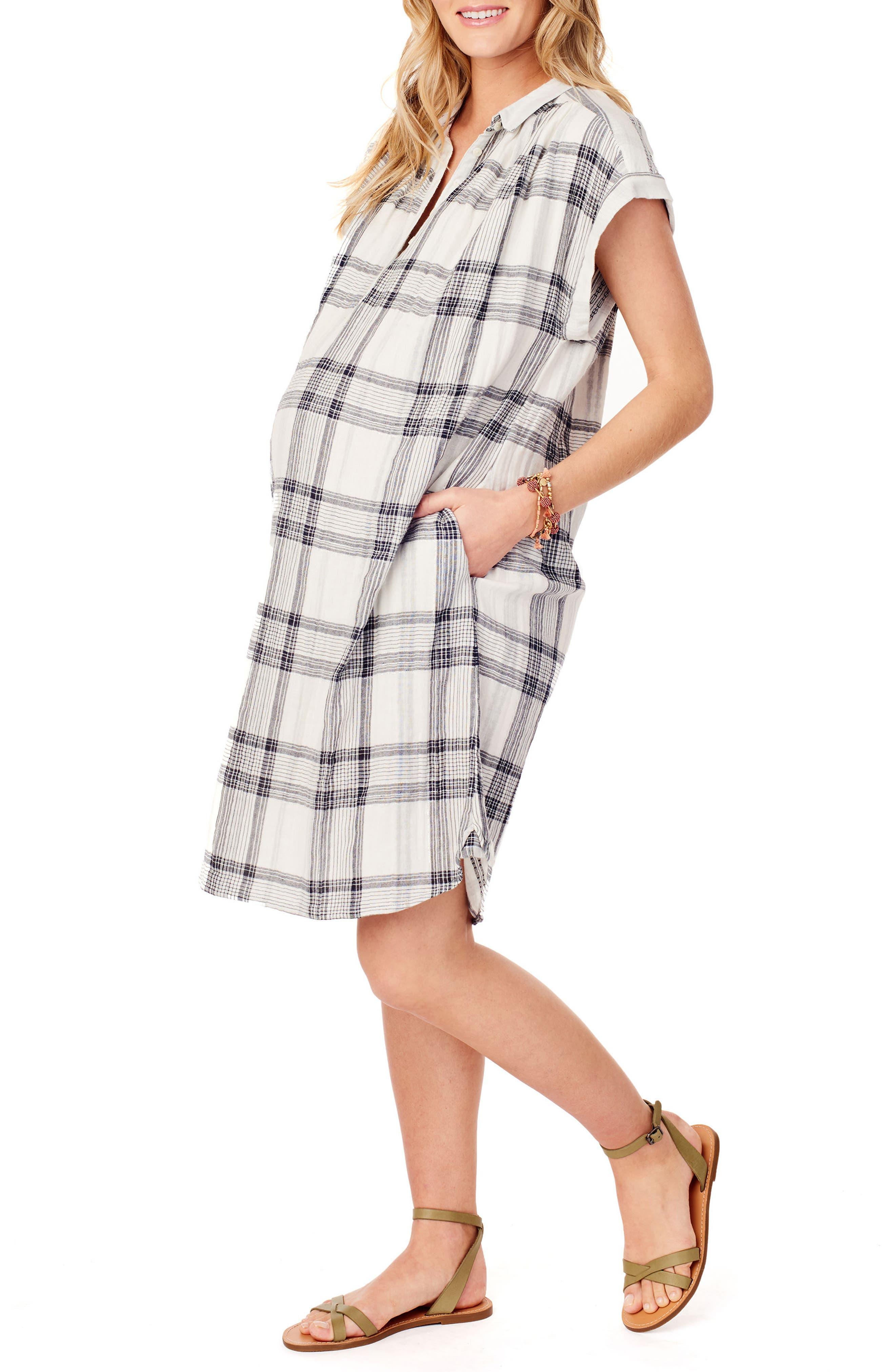 Ingrid & Isabel Maternity Shift Dress,                             Alternate thumbnail 3, color,                             WHITE/ BLACK LUREX PLAID