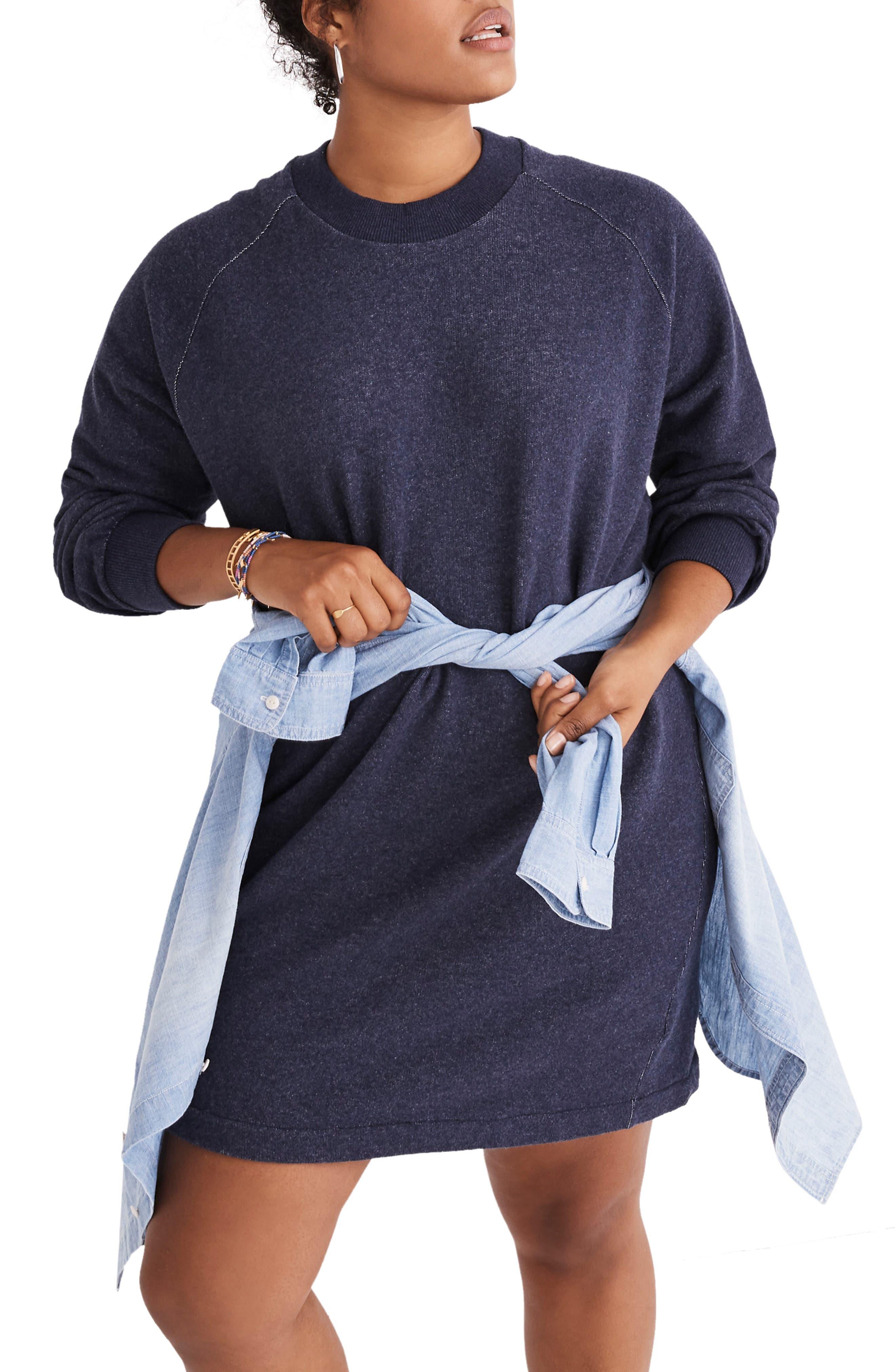 Bubble Sleeve Sweatshirt Dress,                             Alternate thumbnail 2, color,                             400