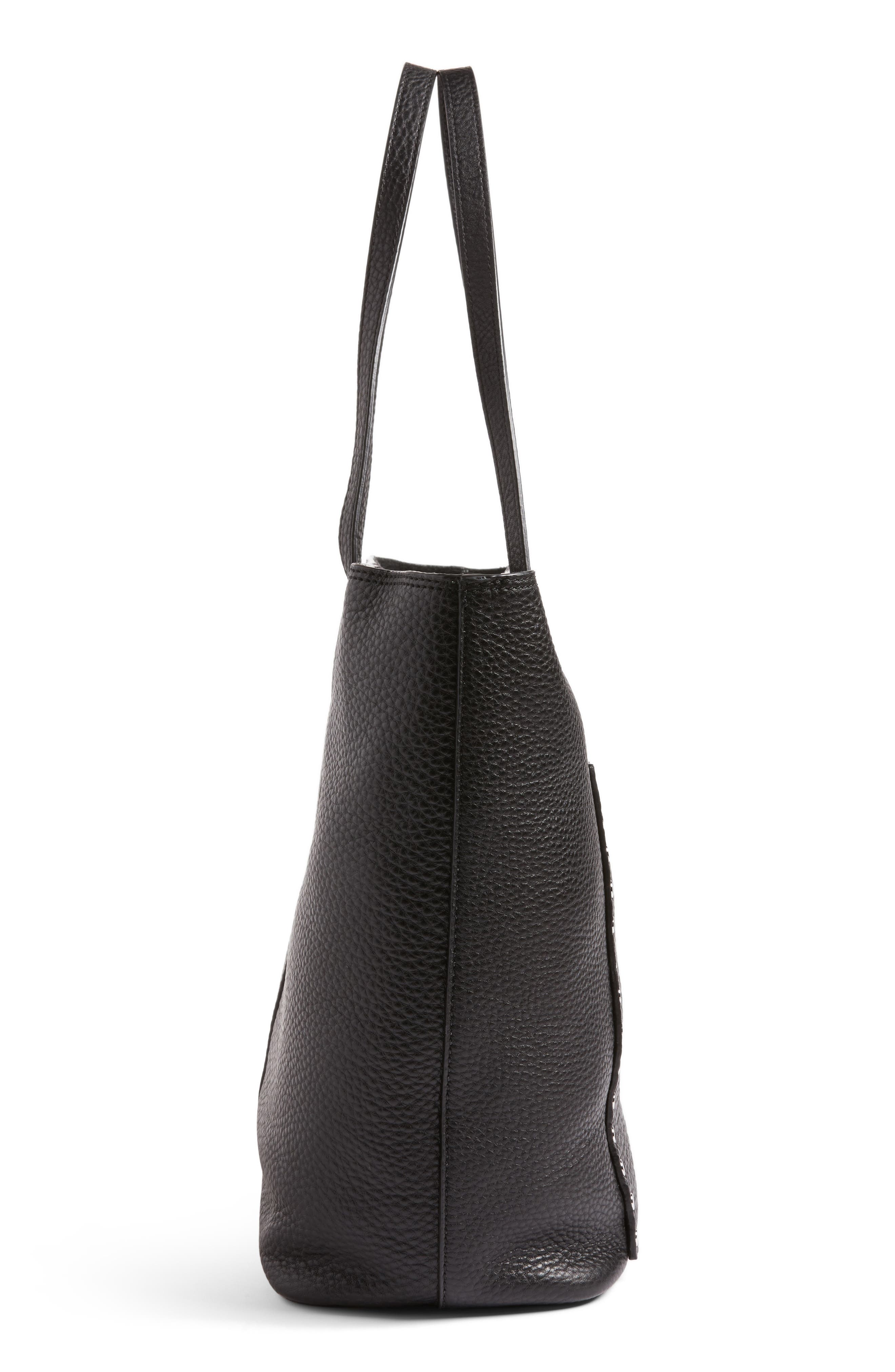 Unlined Front Pocket Leather Tote,                             Alternate thumbnail 5, color,                             001