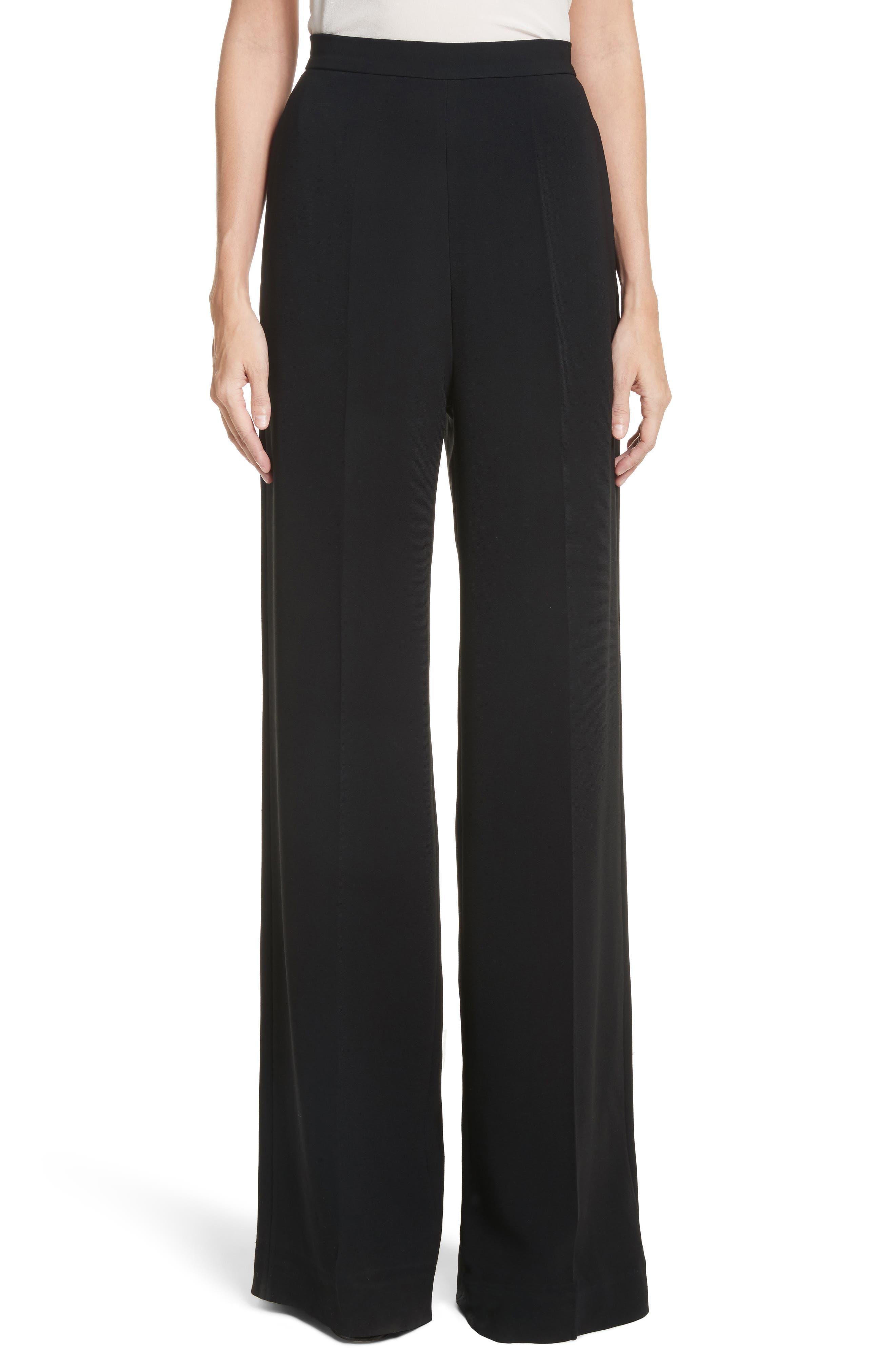 Wide Leg Crepe Pants,                         Main,                         color, 001