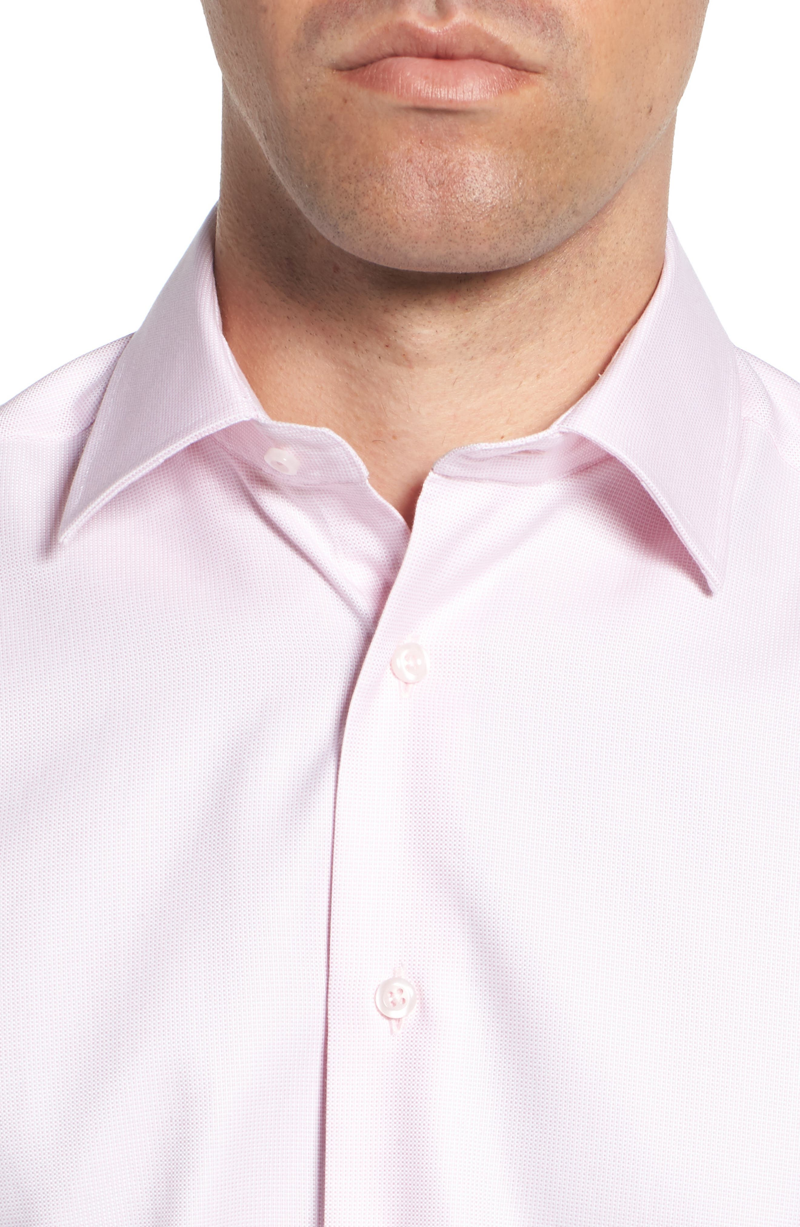 Trim Fit Solid Dress Shirt,                             Alternate thumbnail 2, color,                             PINK