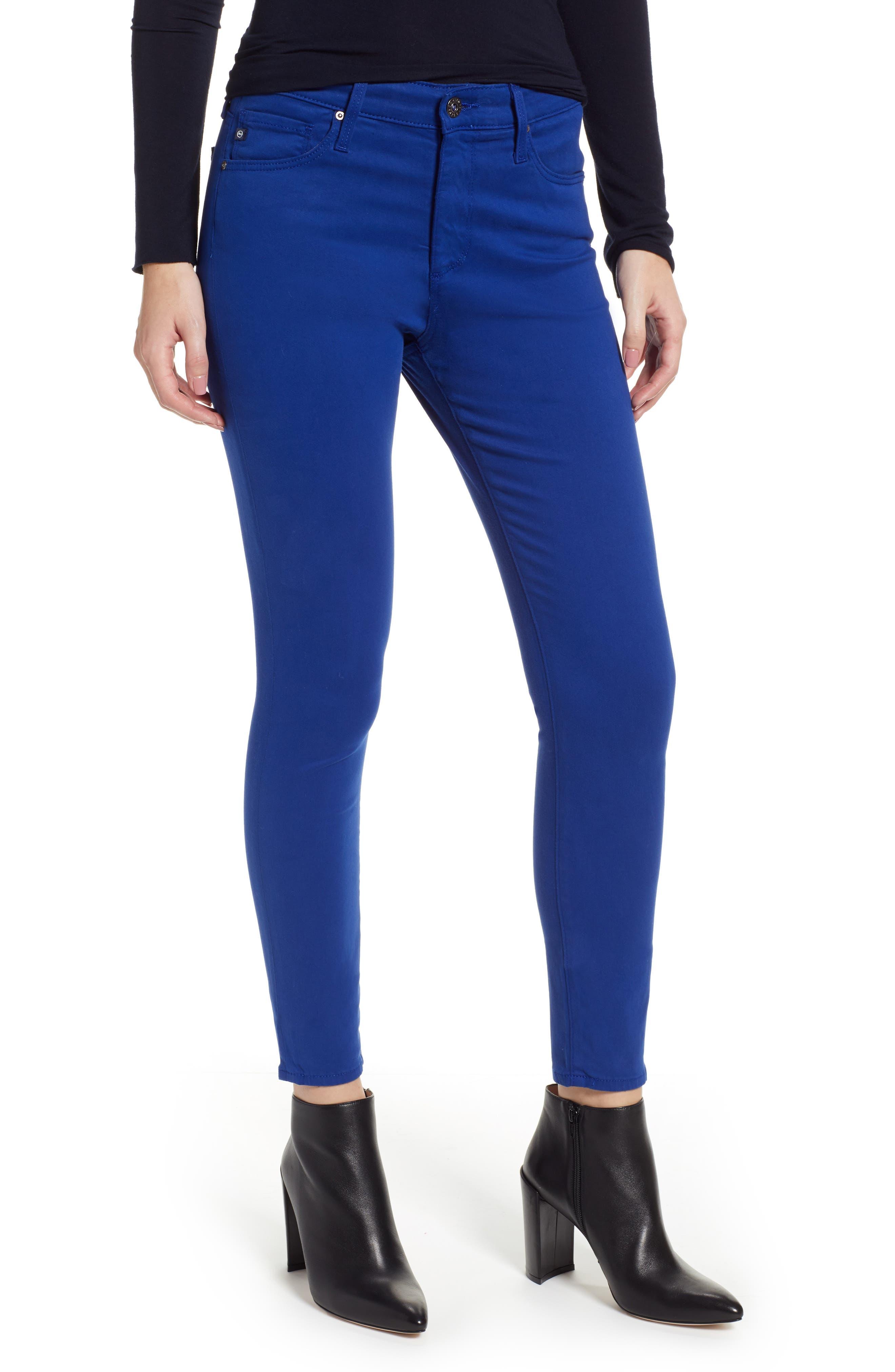 Farrah High Waist Ankle Skinny Jeans,                         Main,                         color, EGYPTIAN BLUE