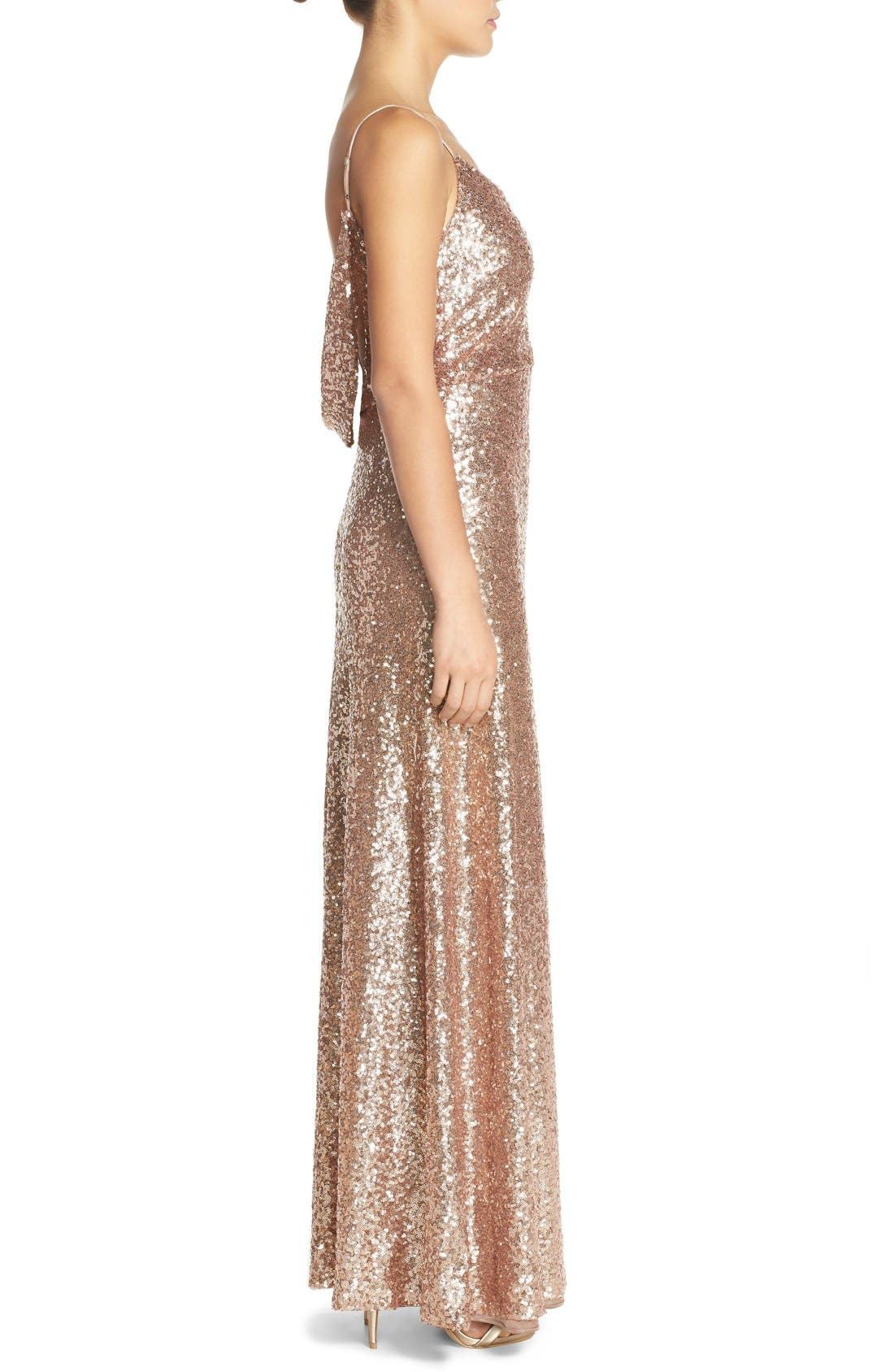 Jules Sequin Blouson Gown with Detachable Back Cowl,                             Alternate thumbnail 4, color,                             686