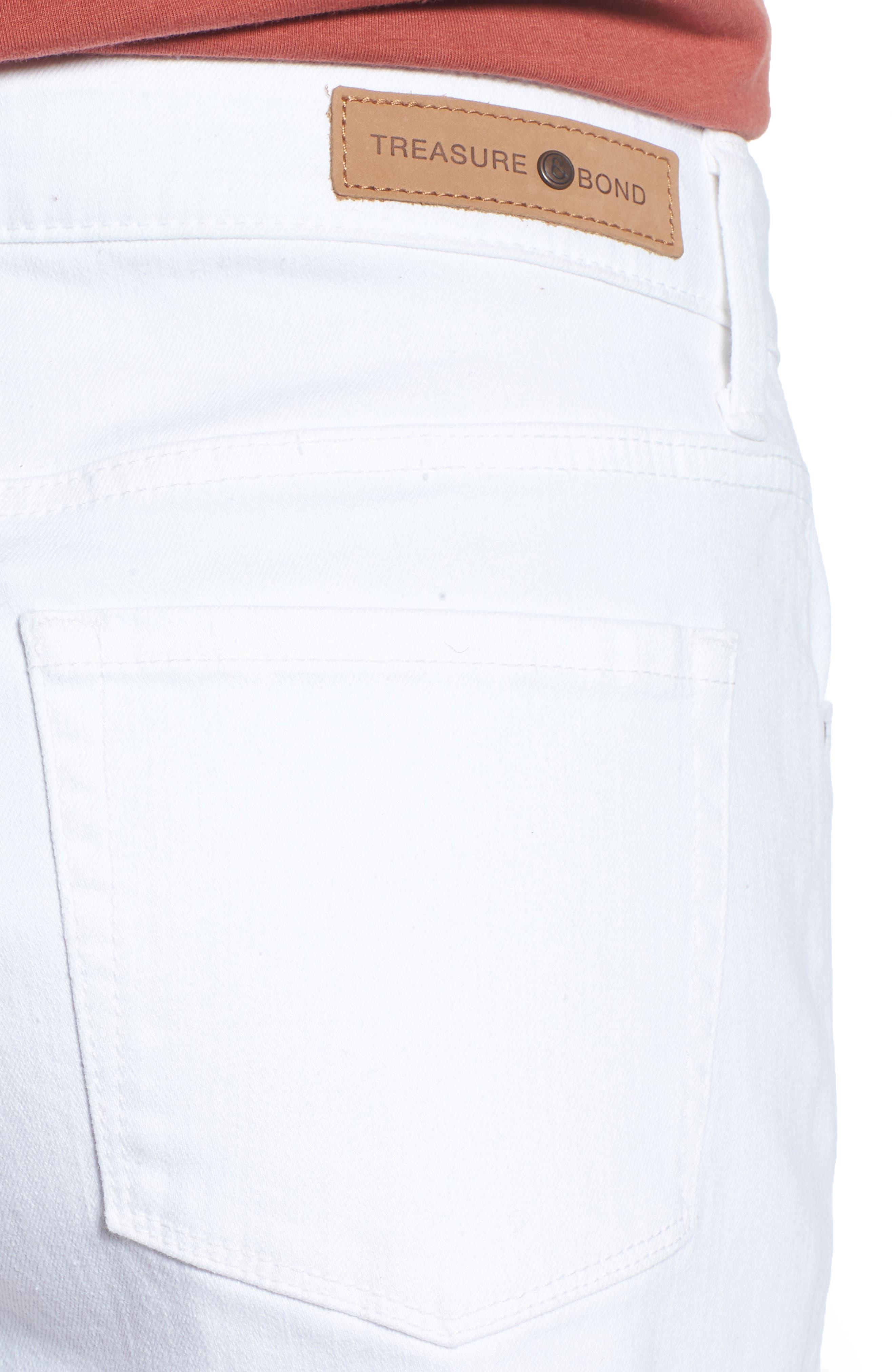 High Waist Cutoff Denim Shorts,                             Alternate thumbnail 4, color,                             100