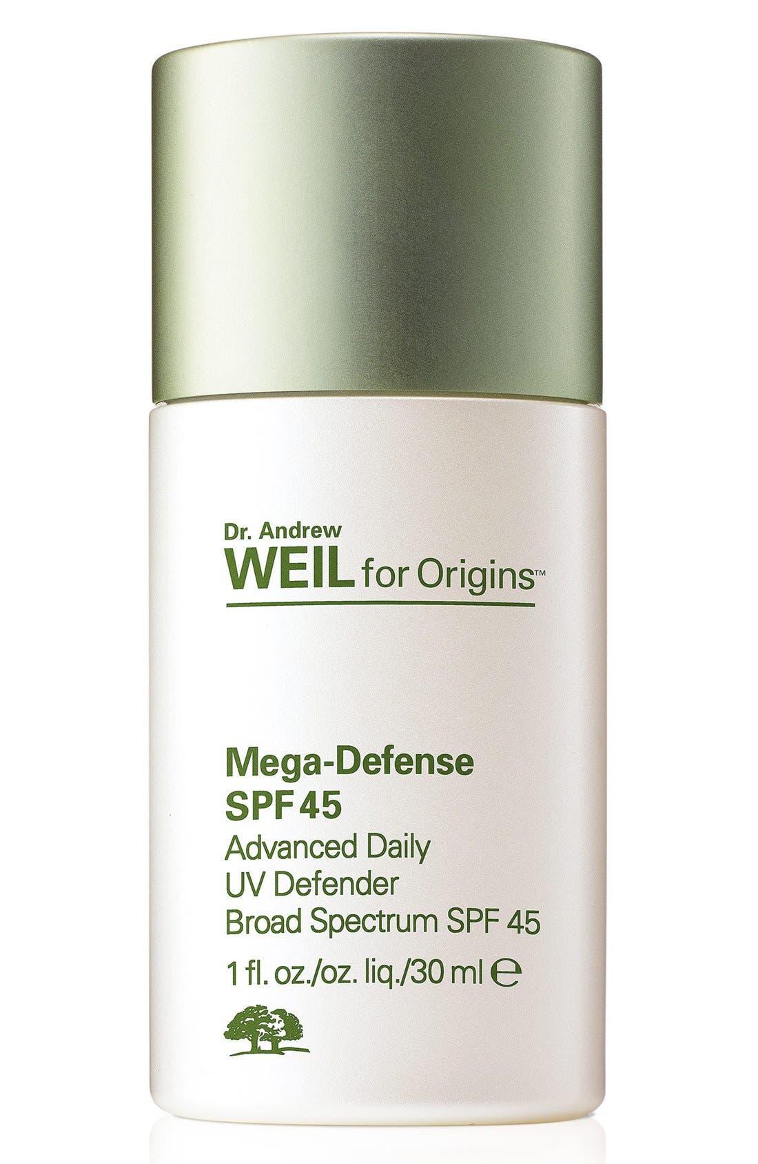 Dr. Andrew Weil for Origins<sup>™</sup> Mega-Defense Advanced Daily UV Defender SPF 45,                         Main,                         color, 000