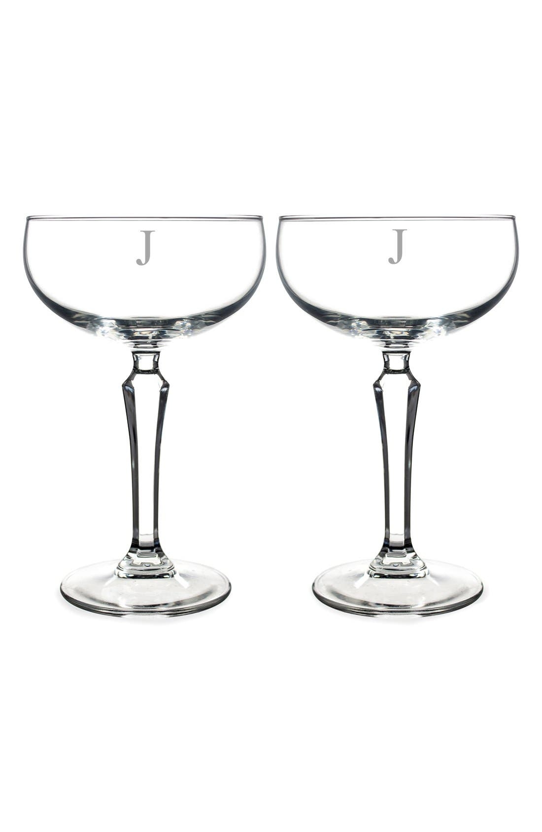 Monogram Coupe Cocktail/Champagne Glasses,                             Main thumbnail 12, color,