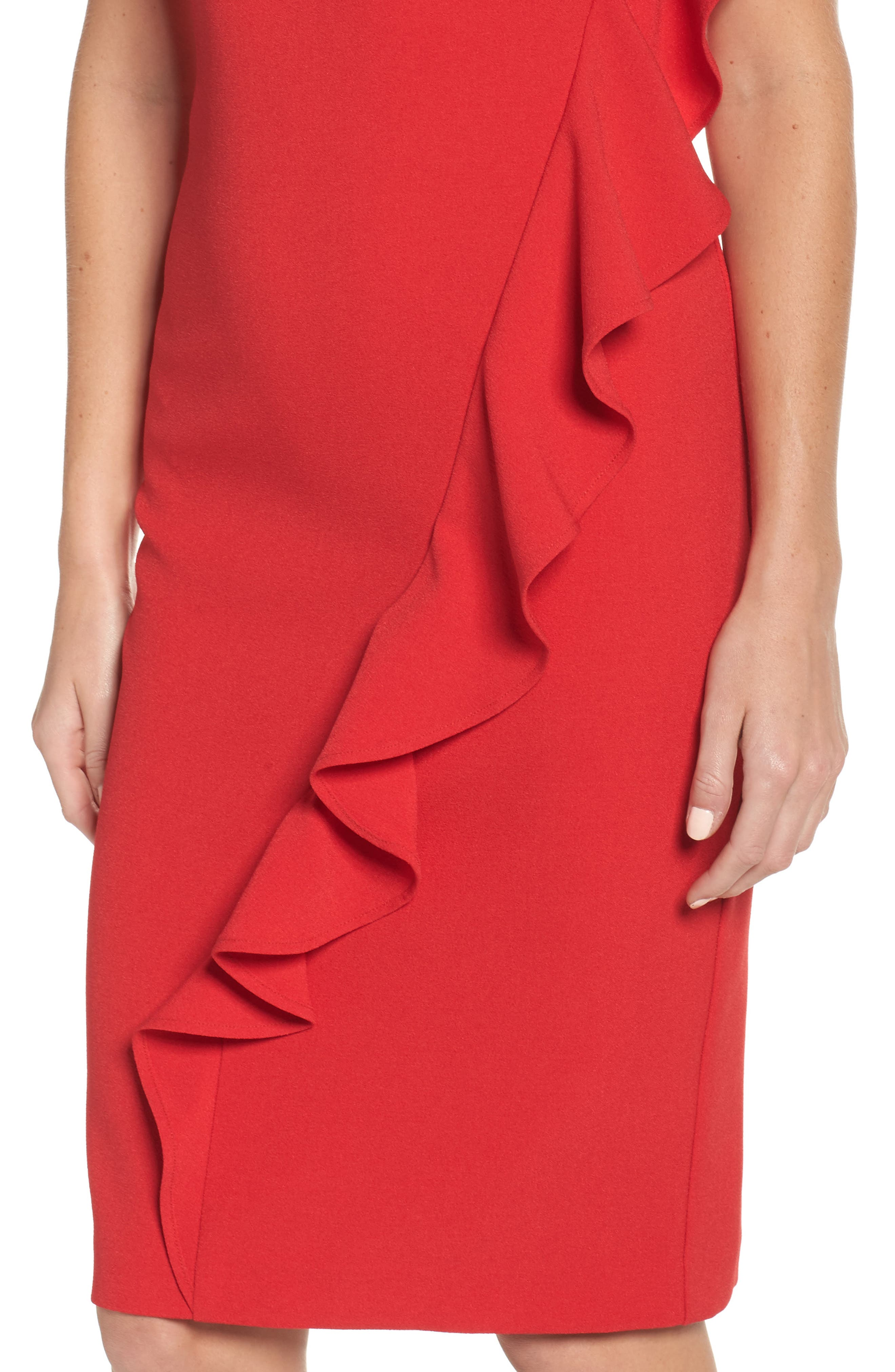 Ruffle Sheath Dress,                             Alternate thumbnail 4, color,                             610