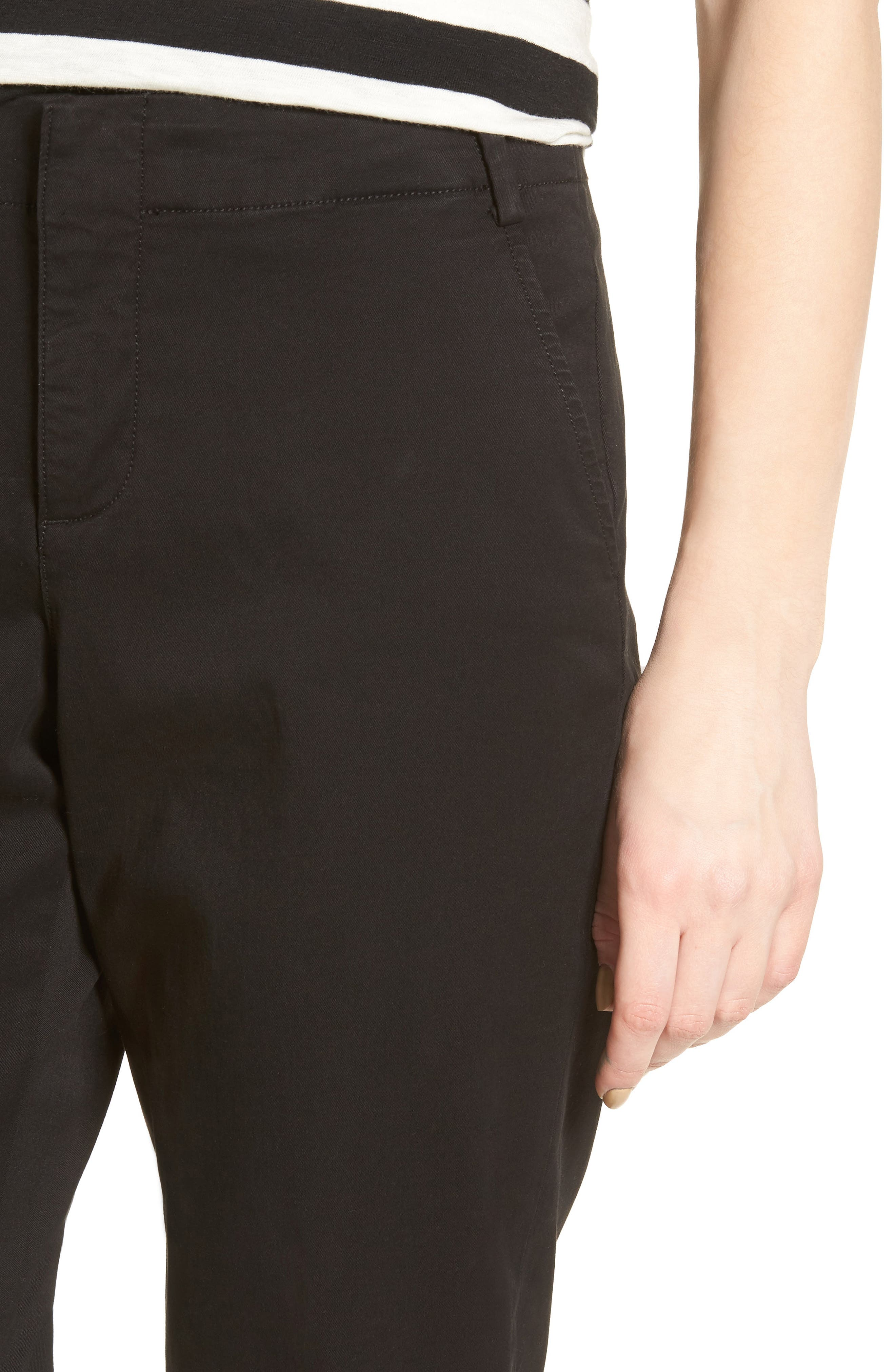 Riley Stretch Twill Relaxed Trousers,                             Alternate thumbnail 4, color,                             001