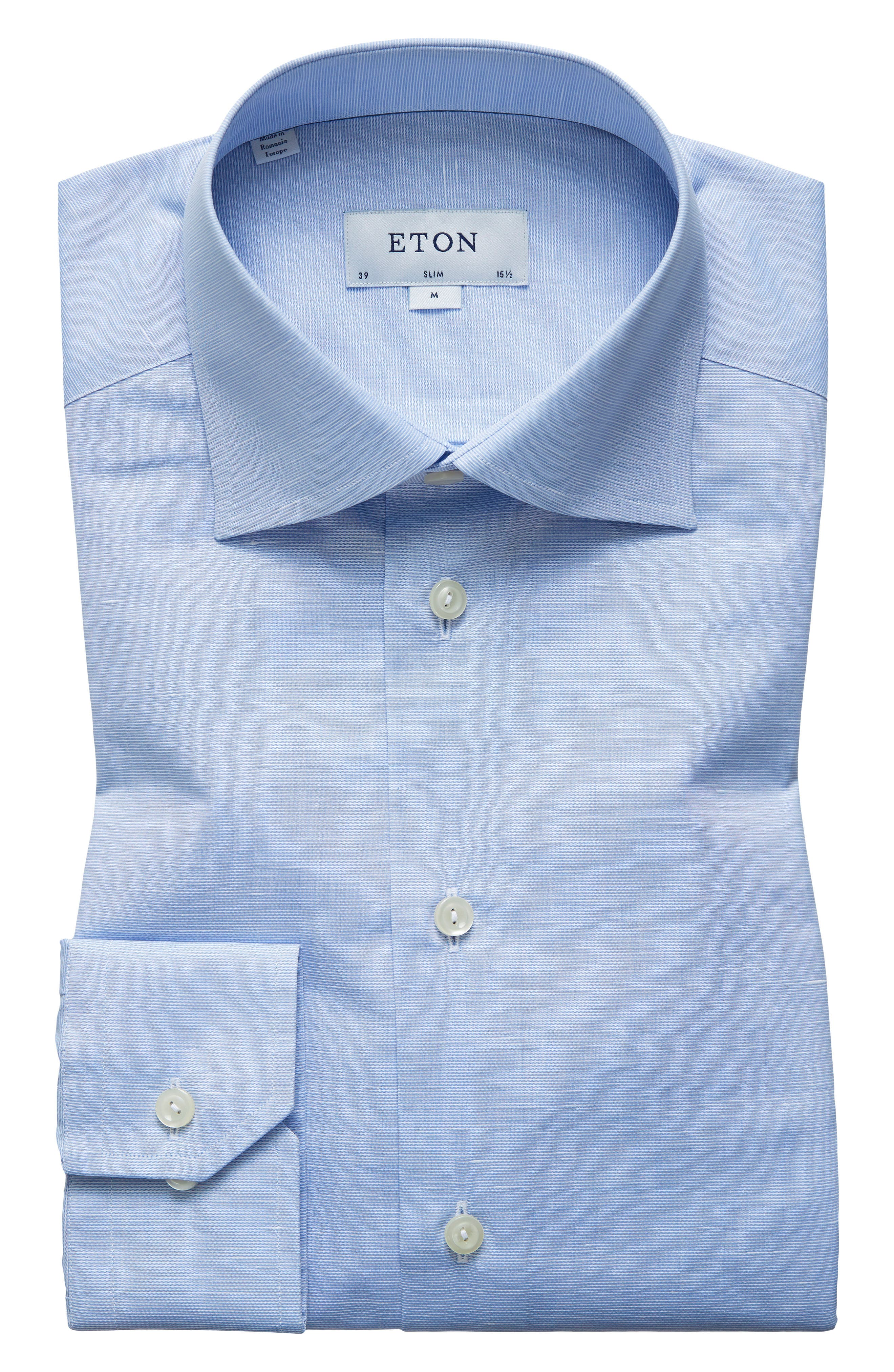 Slim Fit Solid Dress Shirt,                         Main,                         color, BLUE