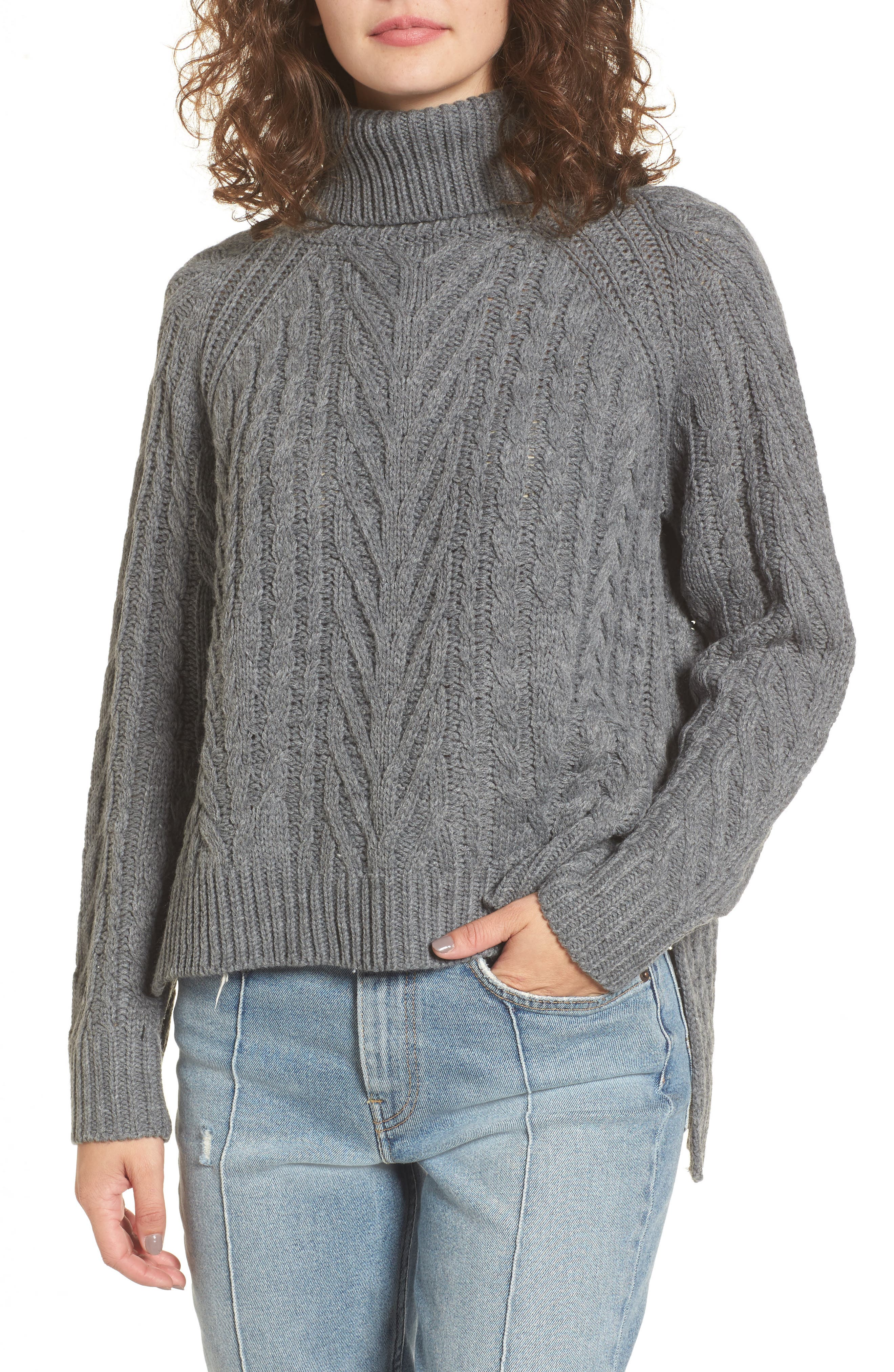Cable Knit Turtleneck Sweater,                             Main thumbnail 1, color,                             020