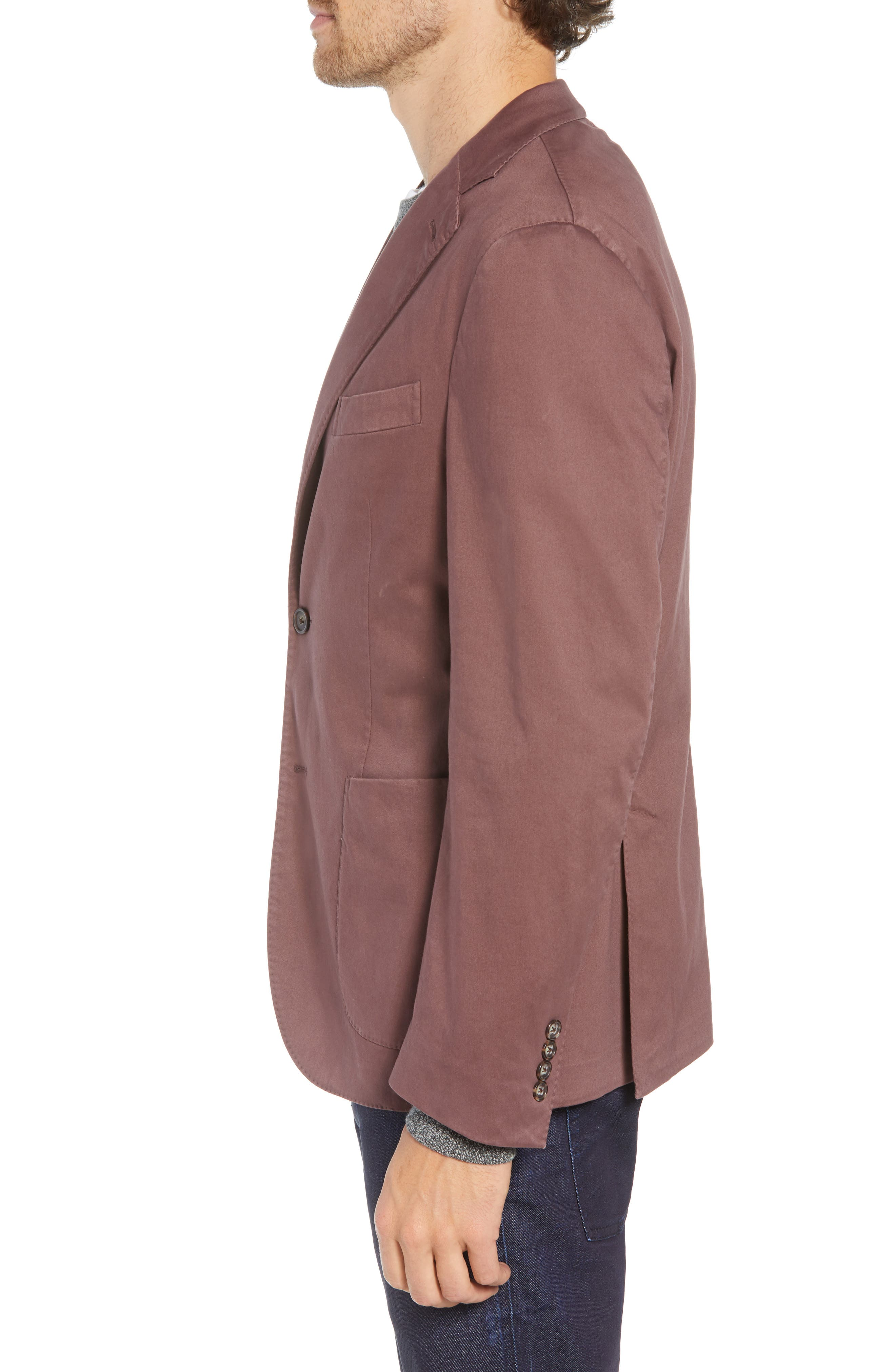 Trim Fit Stretch Cotton Sport Coat,                             Alternate thumbnail 3, color,                             DARK RED
