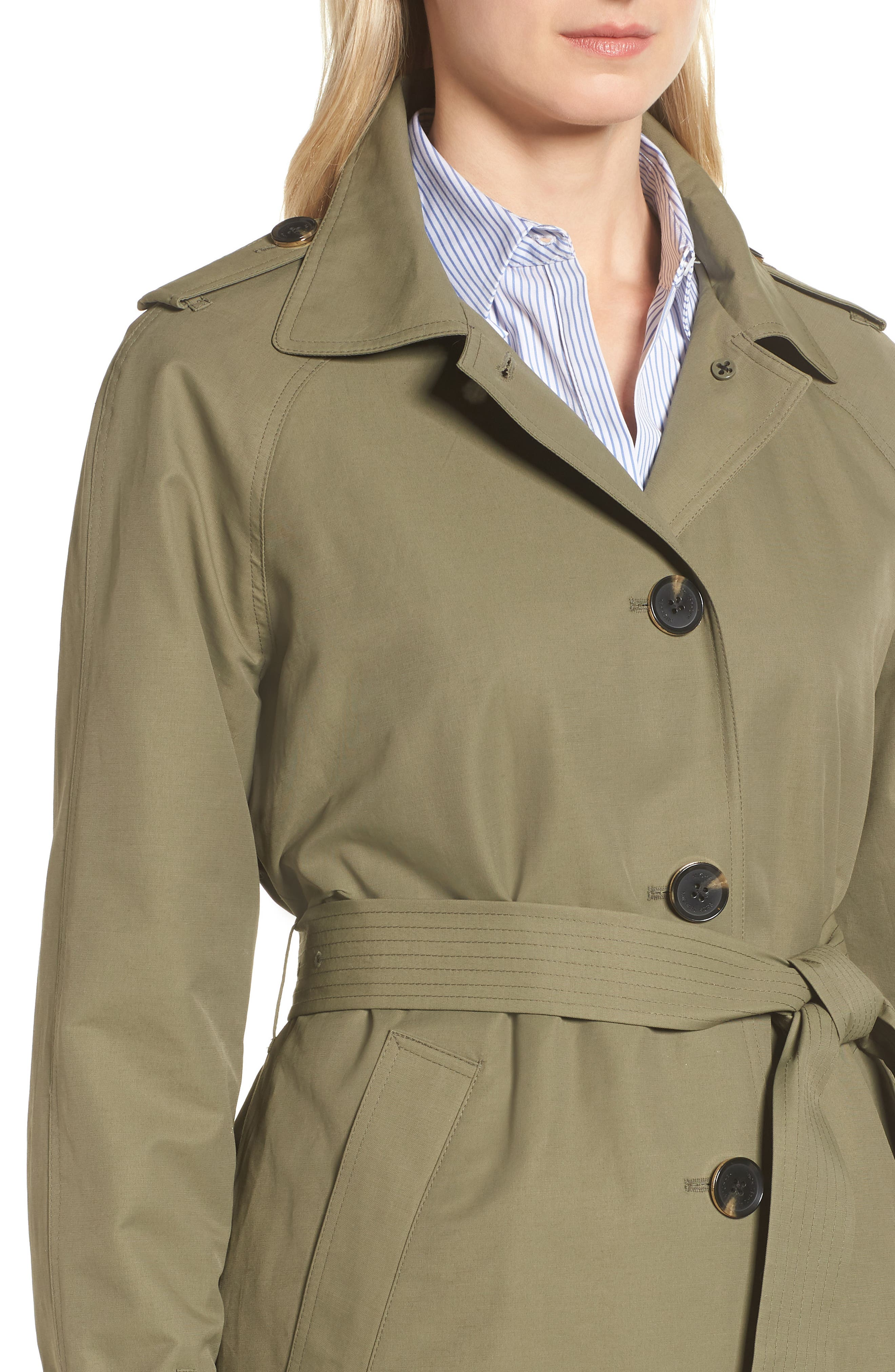 Hooded Trench Coat,                             Alternate thumbnail 4, color,                             ARMY